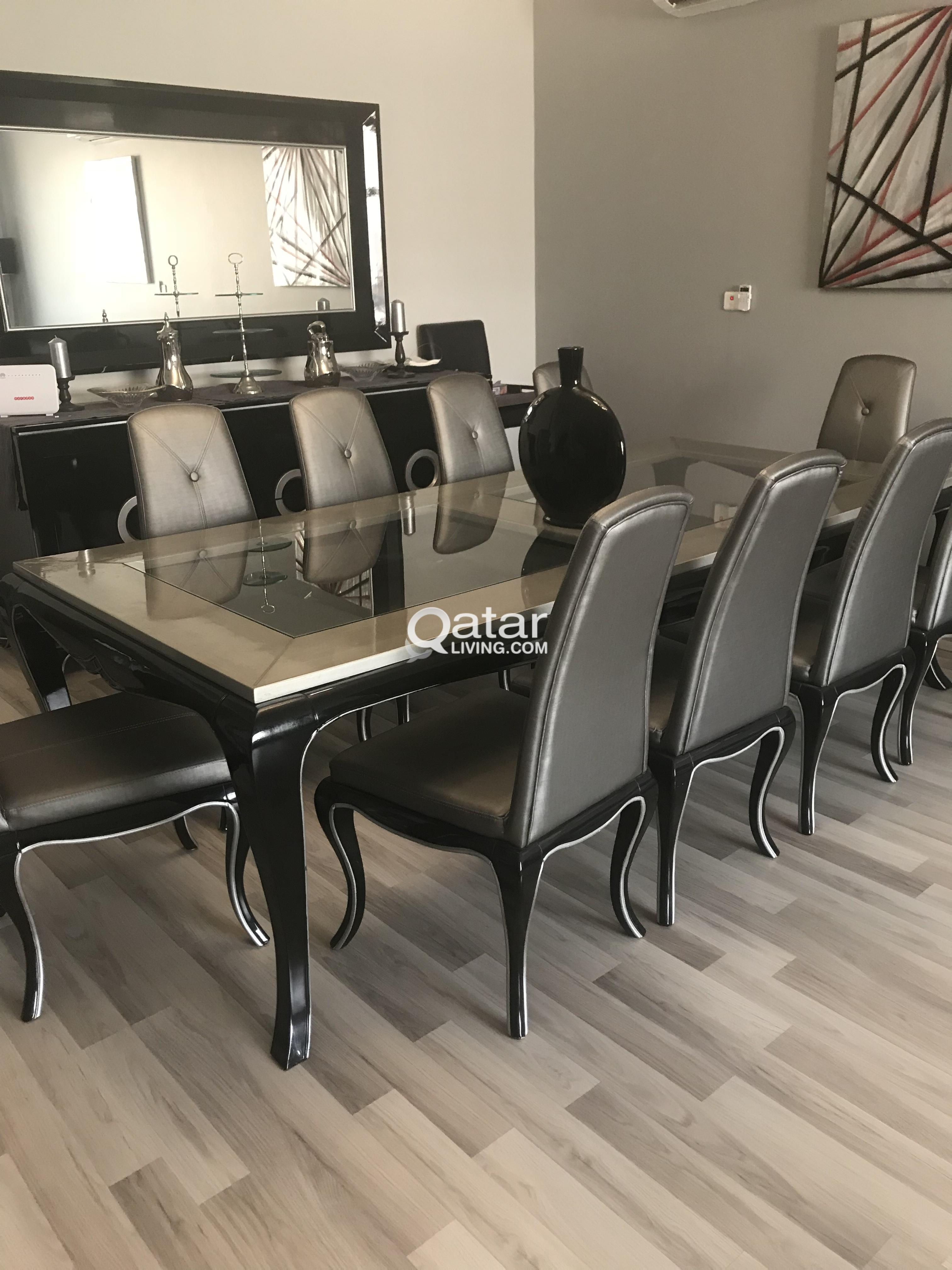 dining room table with 10 chairs unit and mirror from midas rh qatarliving com dining room table with 10 chairs size Black Brown Dining Room Table with Chairs