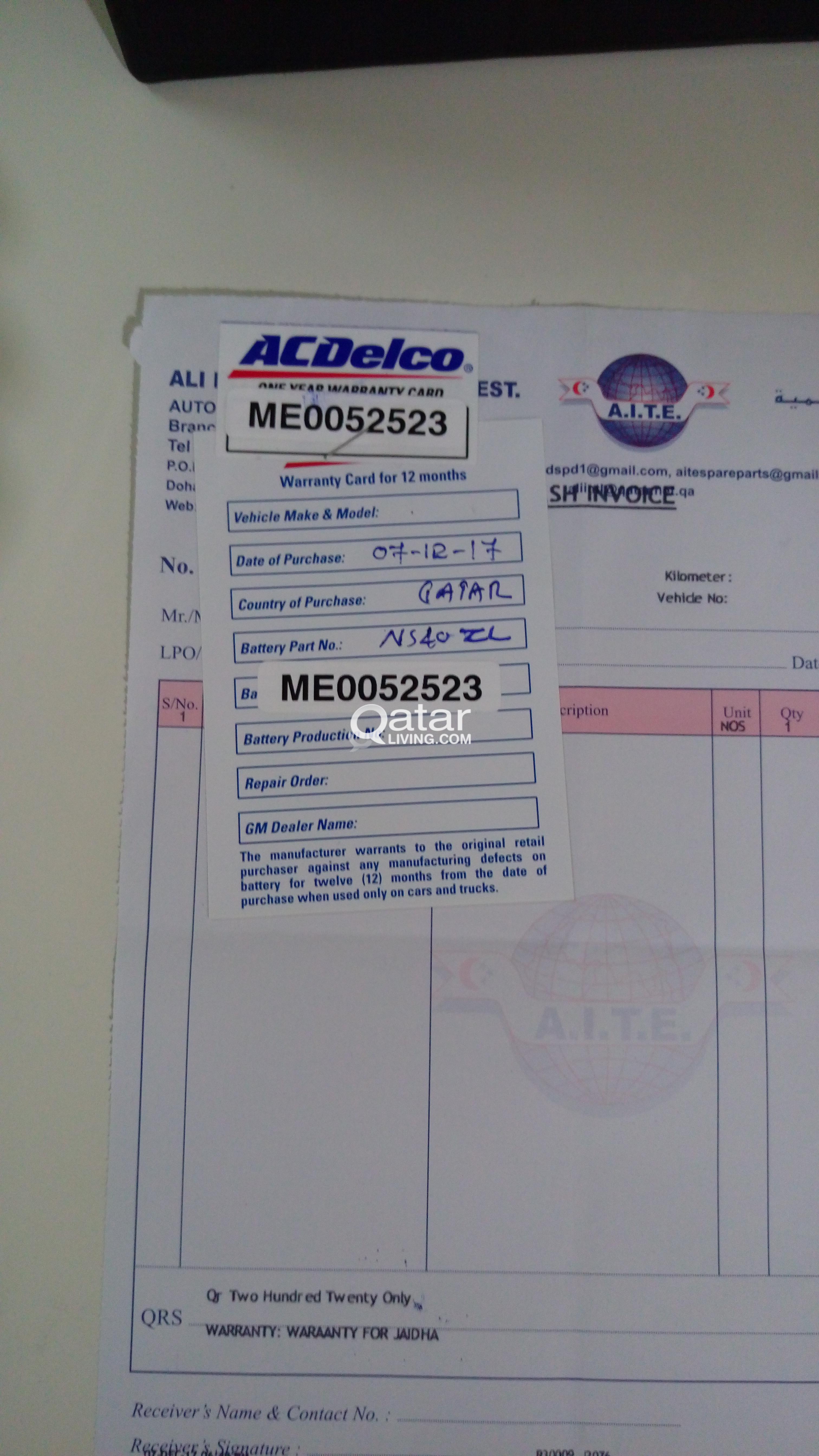 Ac Delco Battery Warranty >> Acdelco Car Battery With 1 Year Warranty For 115qar Qatar