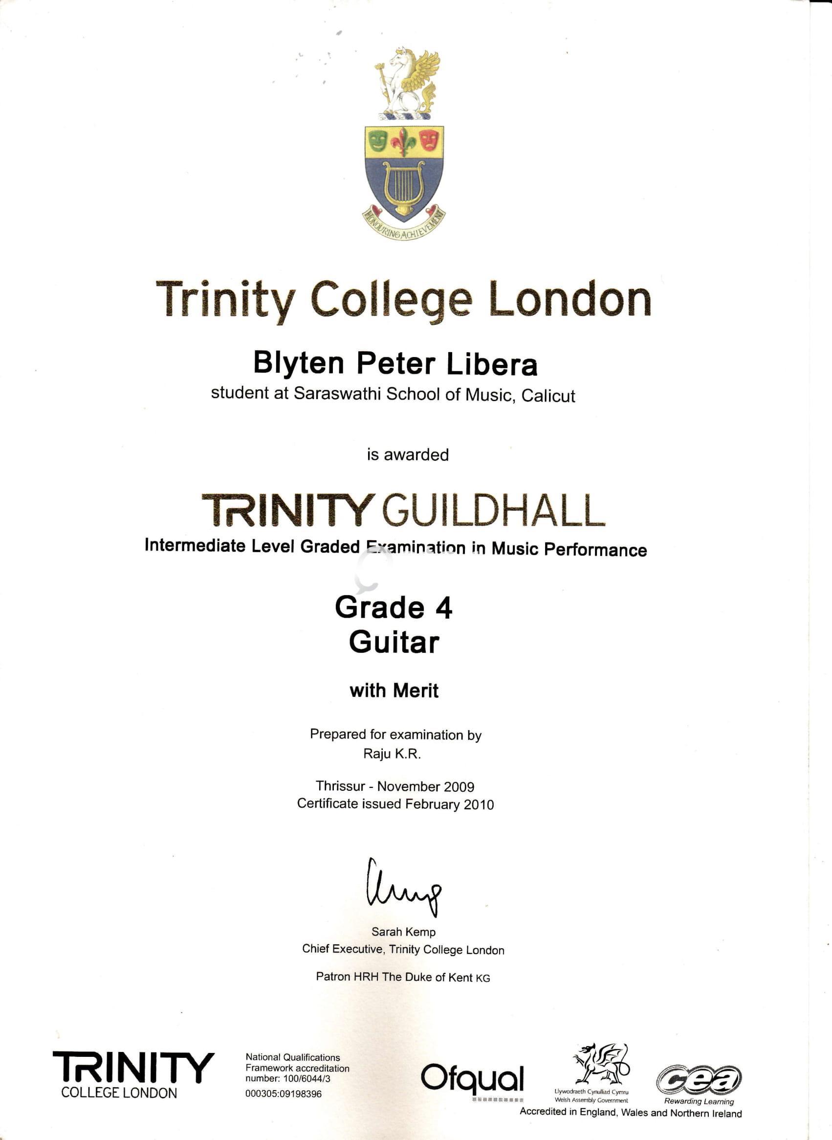 Guitar Tutor Trinity College Of London Certified