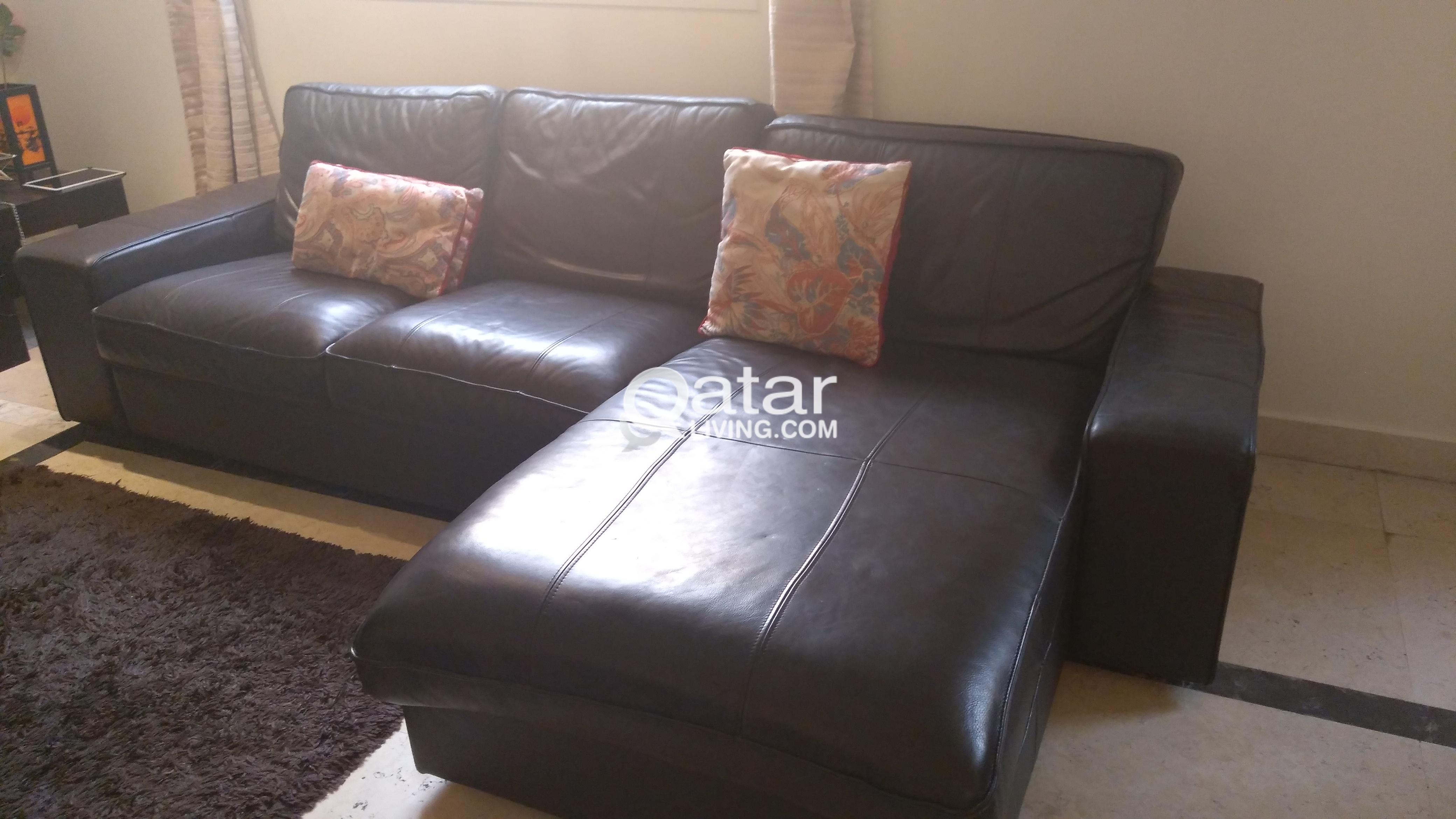 IKEA Kivik 4 Seater Leather Sofa with Chaise Lounge for Sale ...