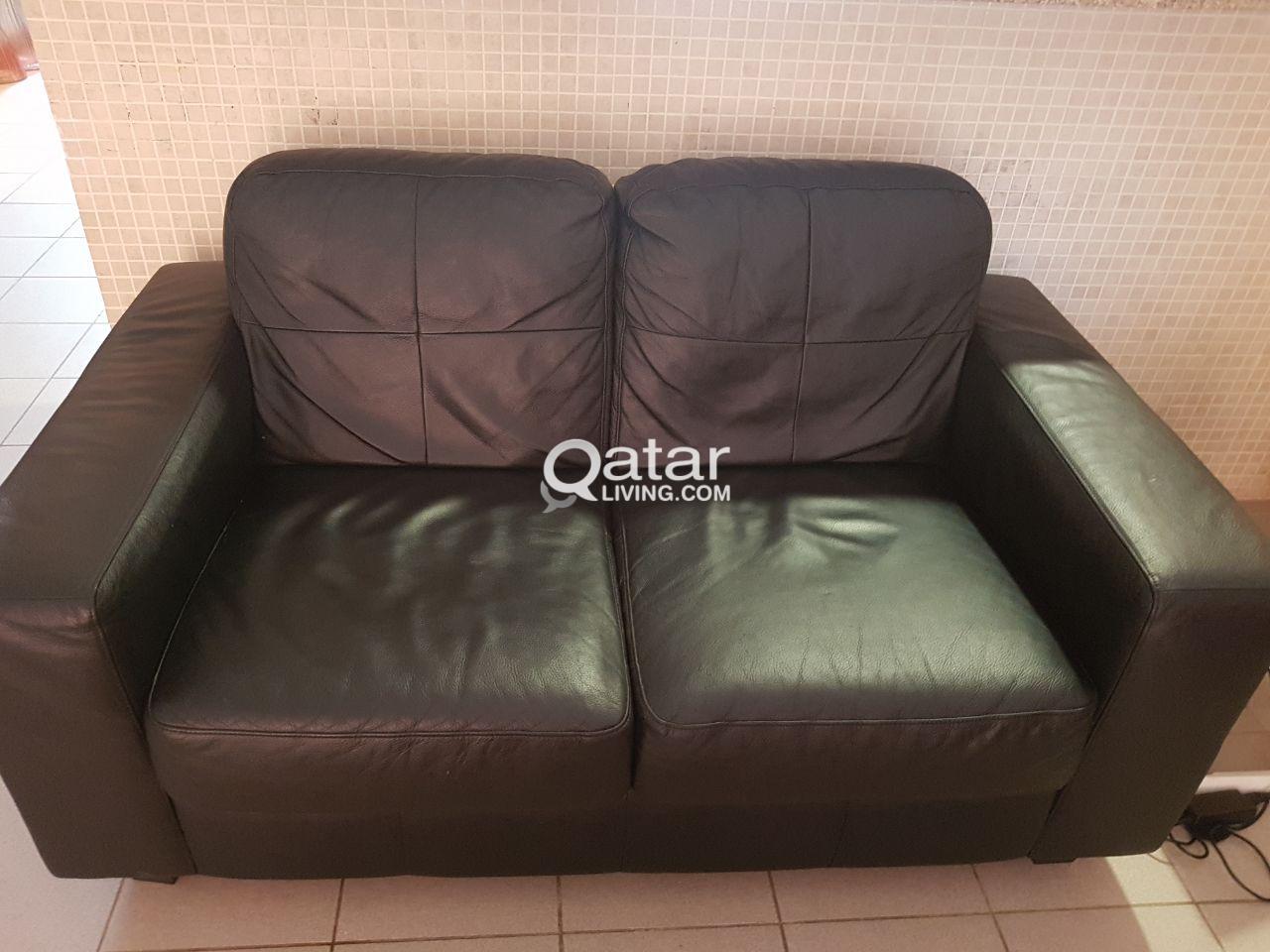 2 seater leather sofa - ikea | Qatar Living