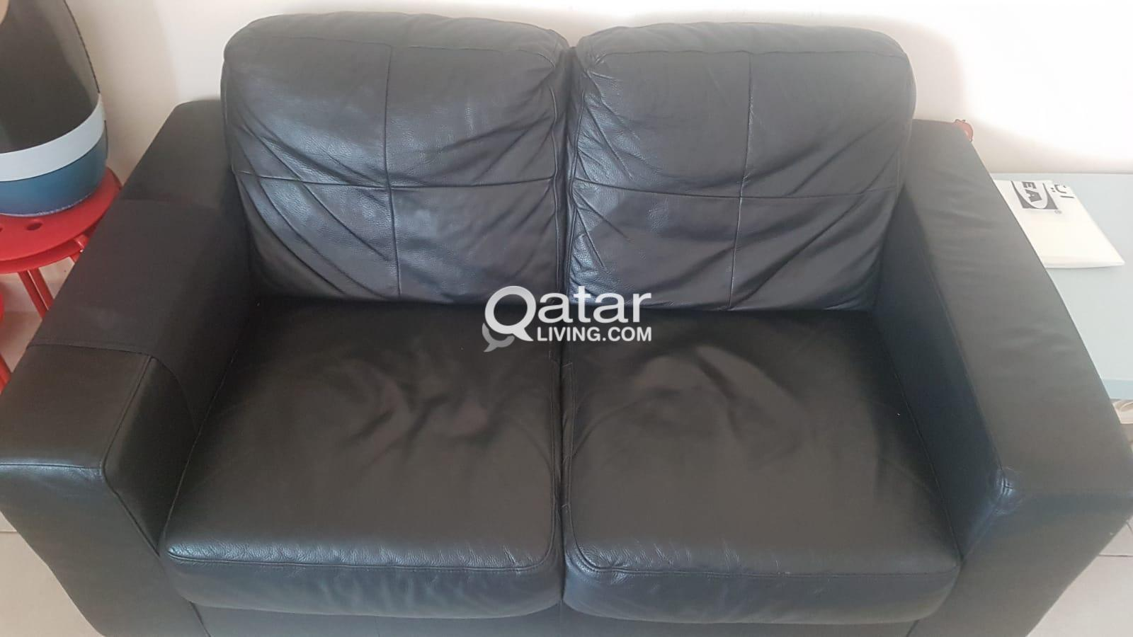 Ikea 2 seater leather sofa | Qatar Living