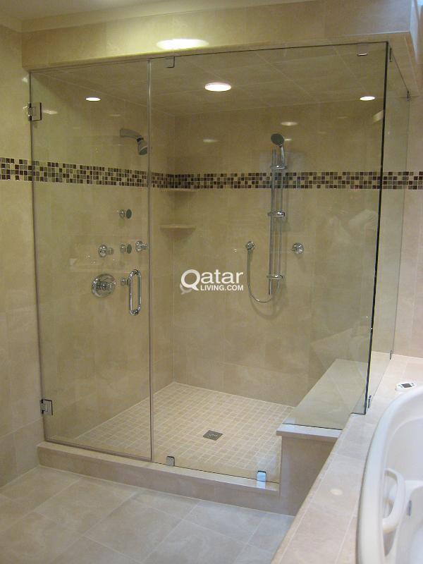 GLASS PARTITION WORK, SHOWER GLASS PARTITION, CLEAR FLOAT