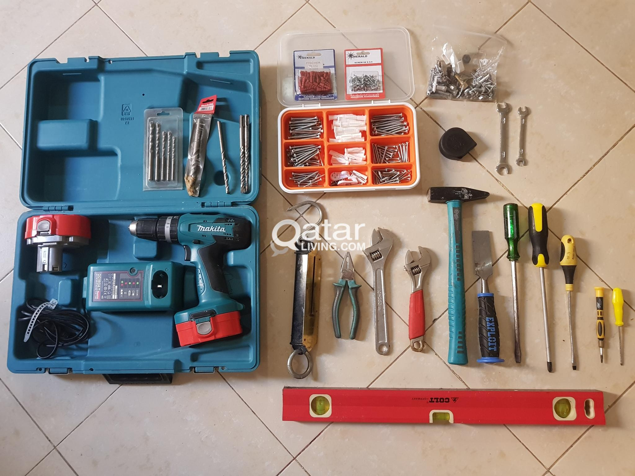 Battery Operated Hand Drill (Makita - Japan make) & Assorted