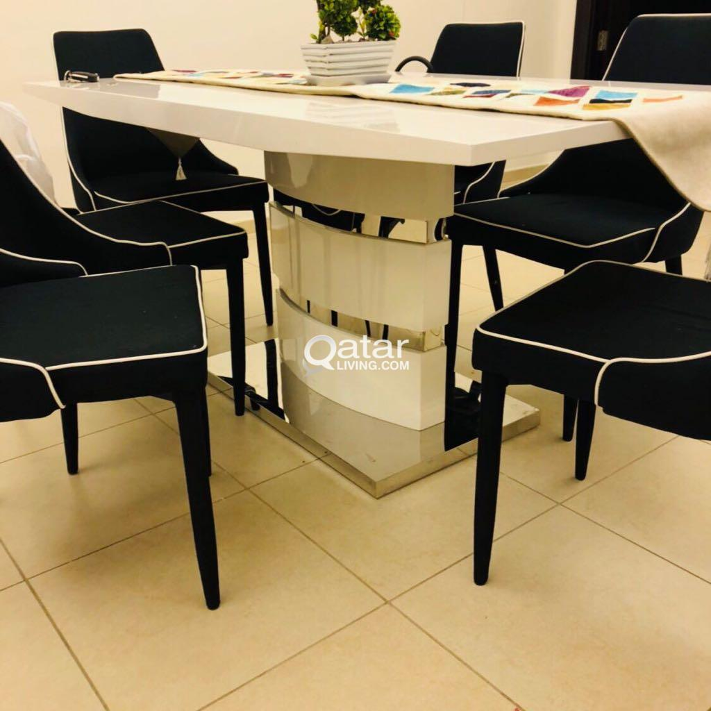 6 Seater White Dining Room Table Set Qatar Living