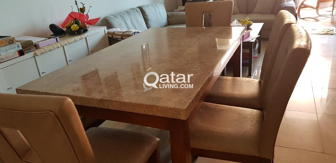 6 Seater Dining Table Set Marble Top Qatar Living