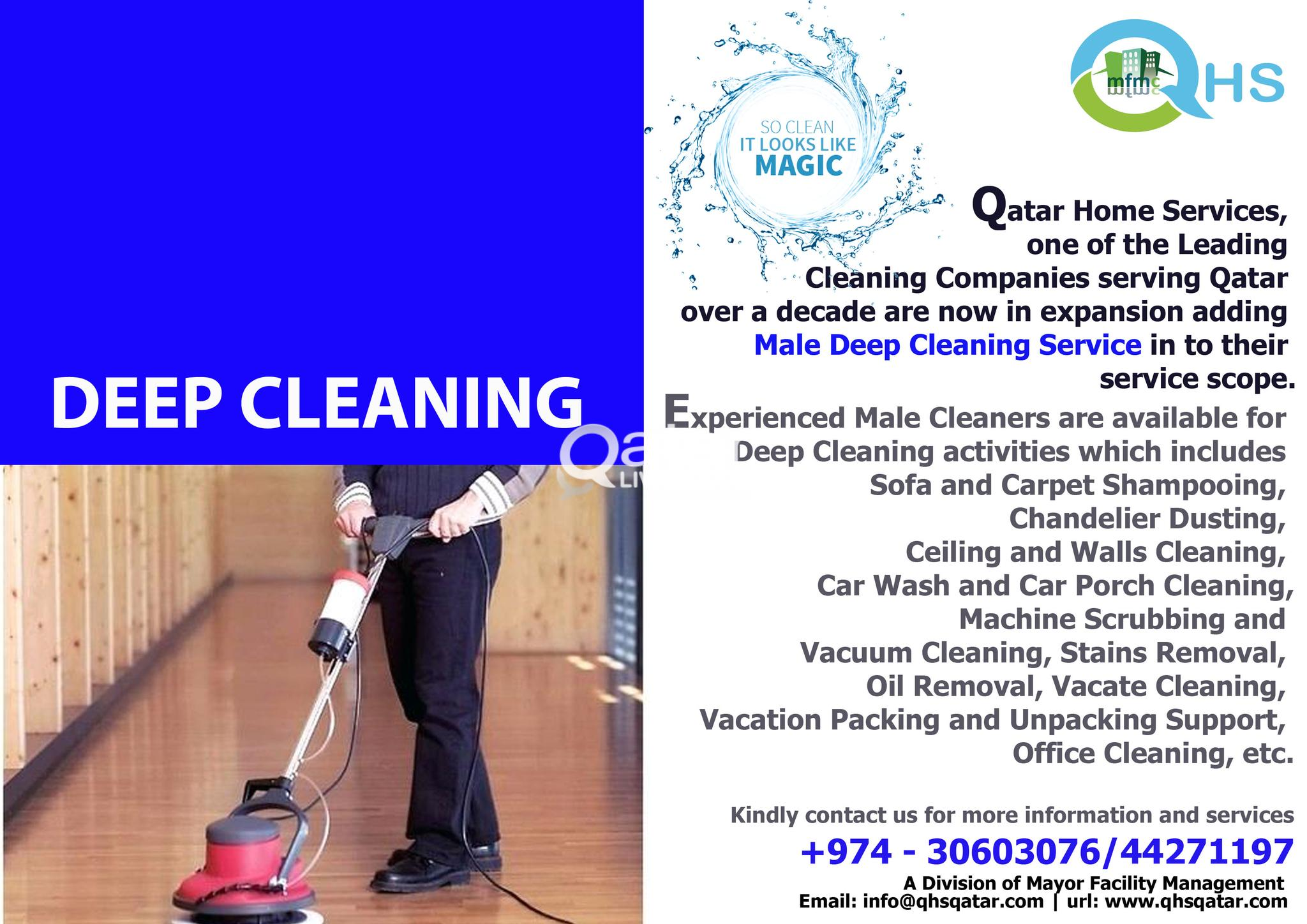 Male Deep Cleaning Service - Call us 30603076 or 4