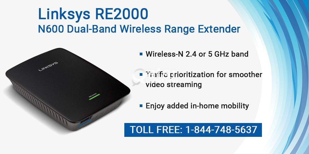 Linksys RE2000 N600 Dual-Band Wireless Range Extender