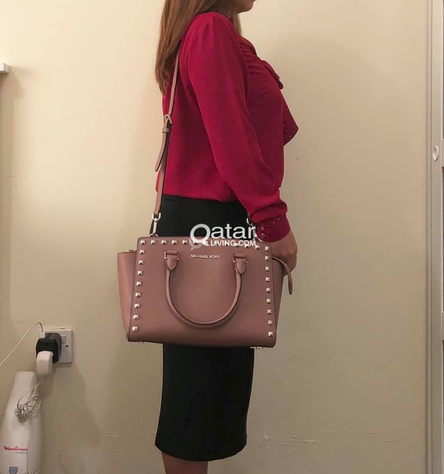 MK Selma Stud Satchel Leather