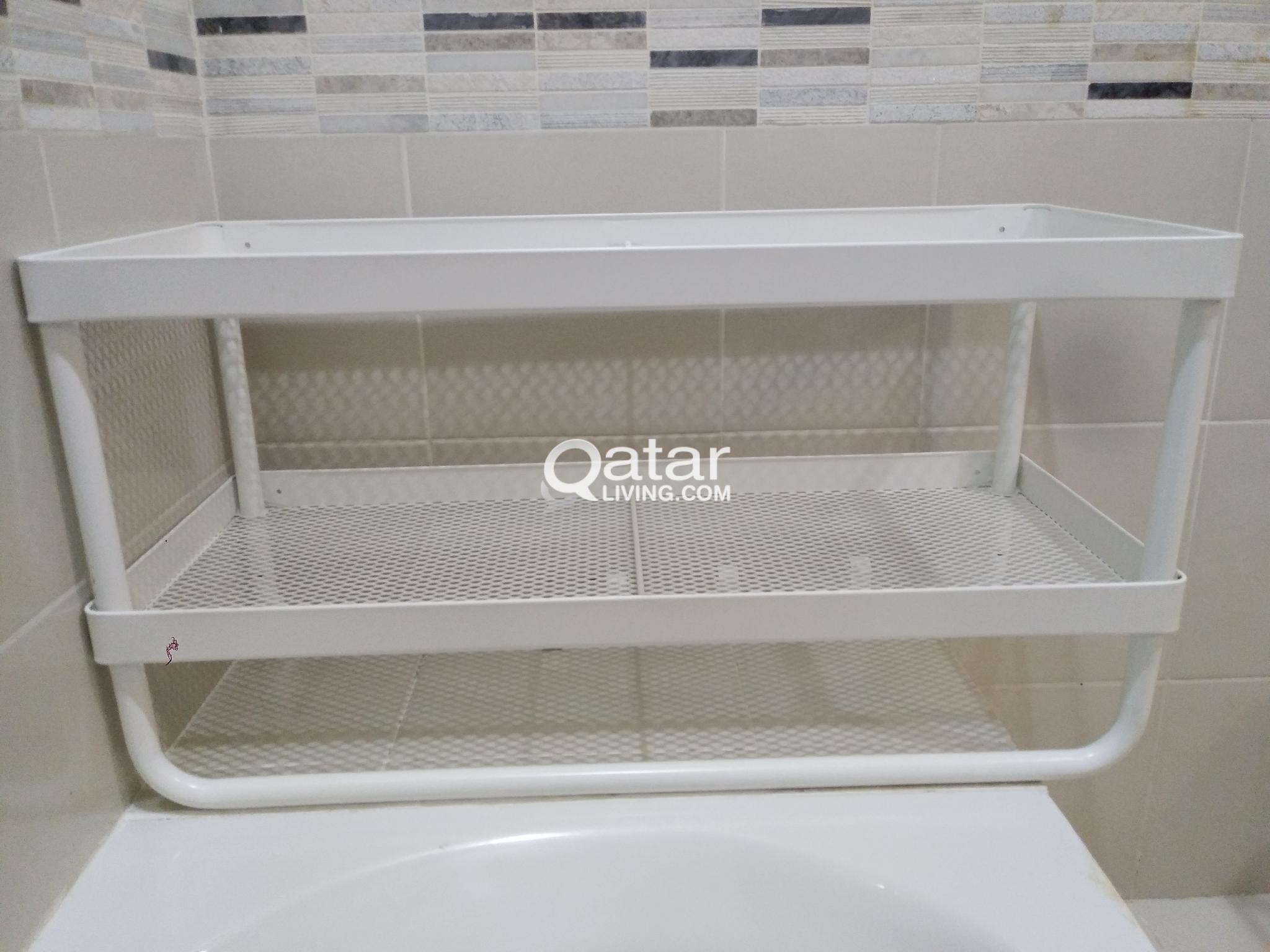 Ikea White Shelf Wooden Table Foil Dispenser Qatar Living