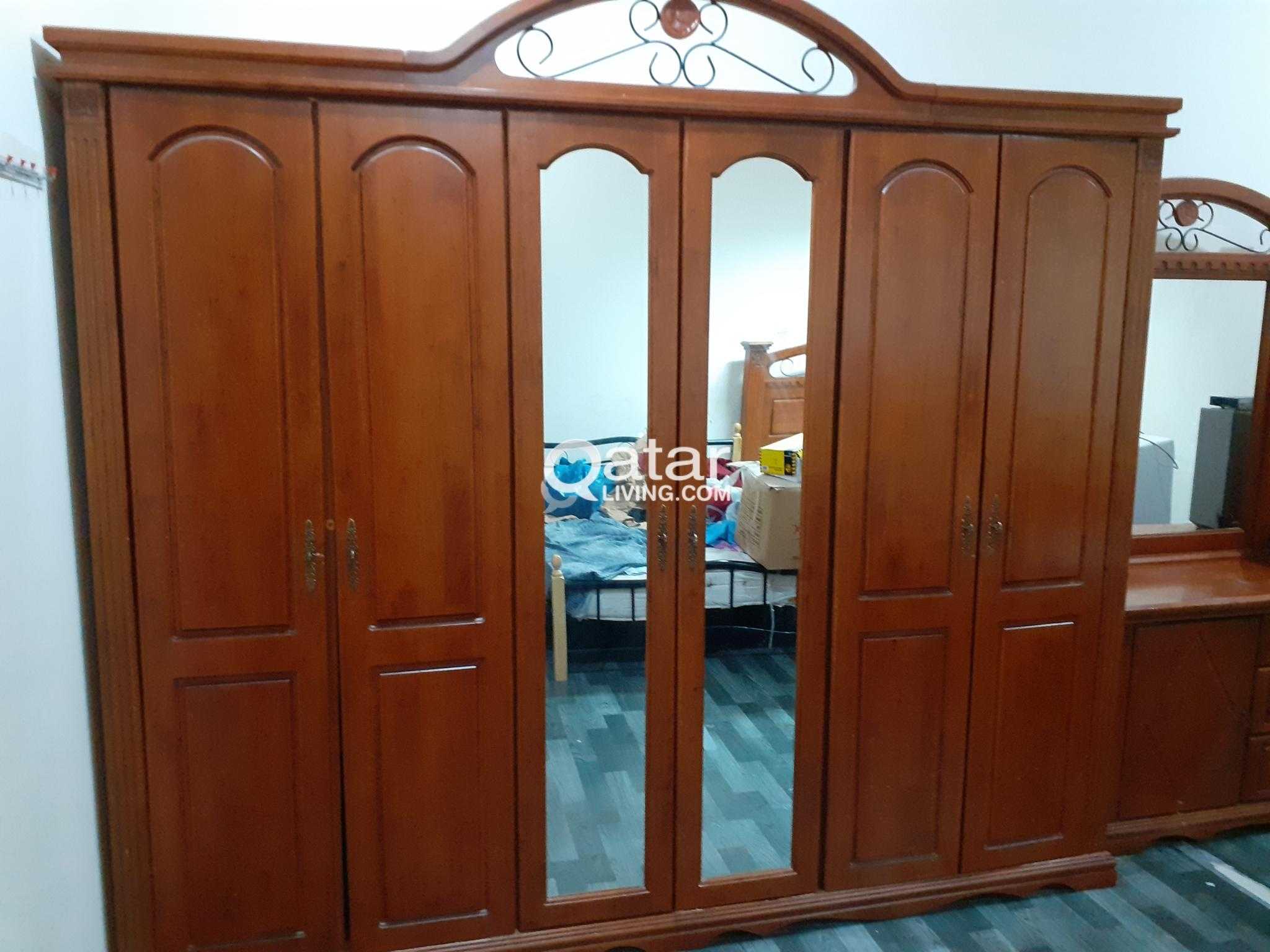 Teak wood king size cot,dressing  tables,6 doors cupboards, 2 side table