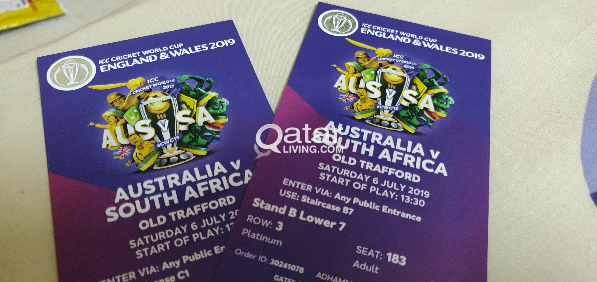 Cricket World Cup Tickets 2019 Platinum Qar850 Qatar Living