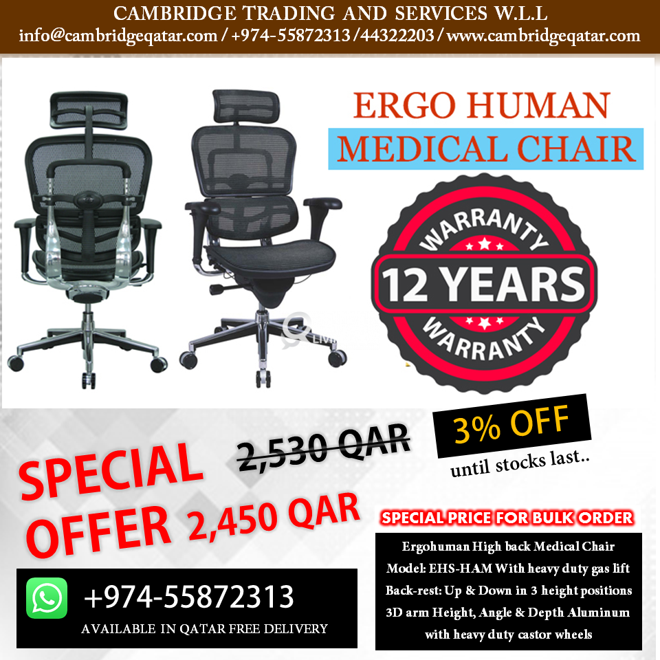 Surprising Ergohuman Medical Chair Free Delivery Qatar Living Home Interior And Landscaping Ponolsignezvosmurscom