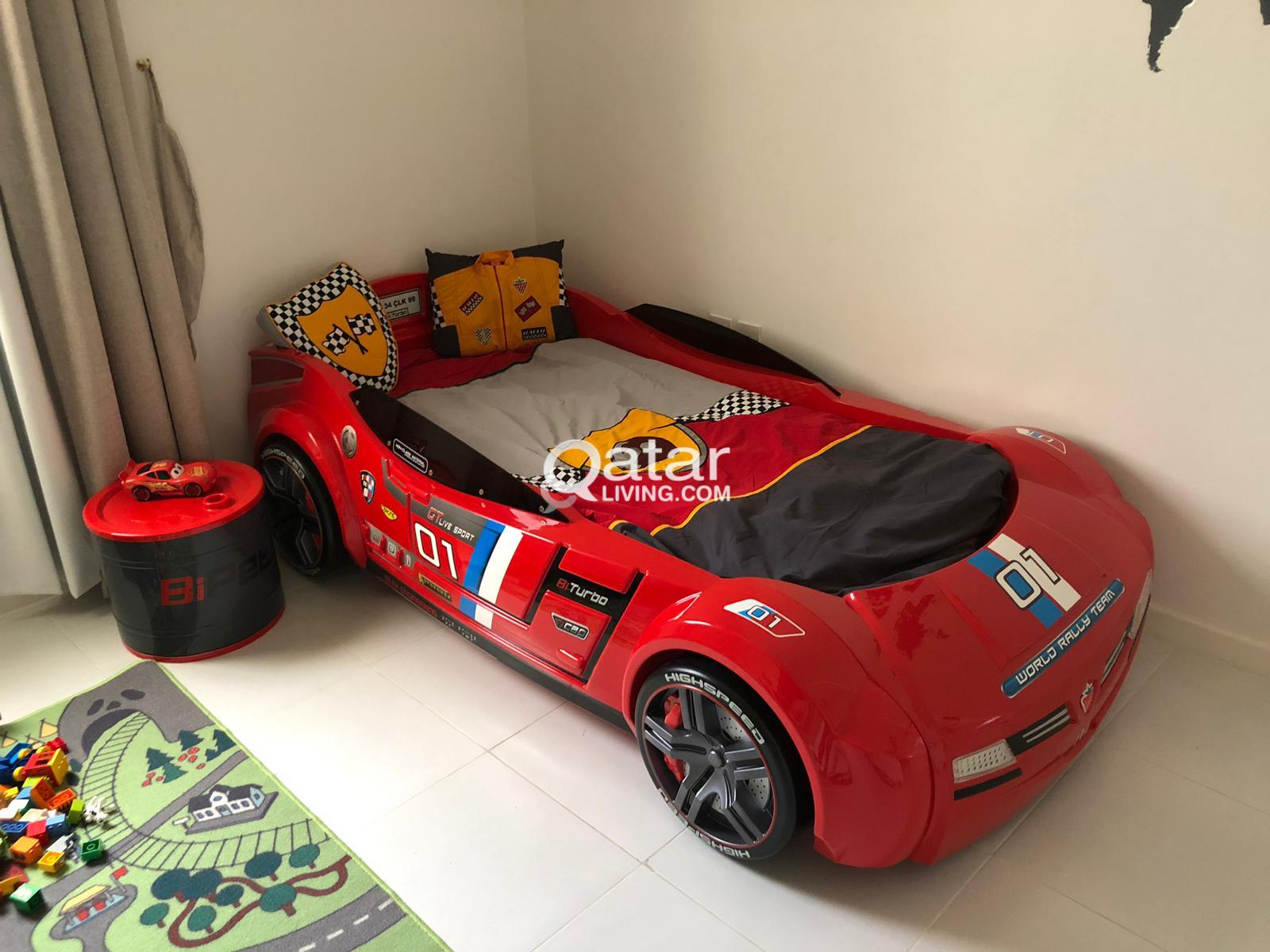 Large Kids Cilek Gts Car Bed And Nightstand Toy Box Qatar Living