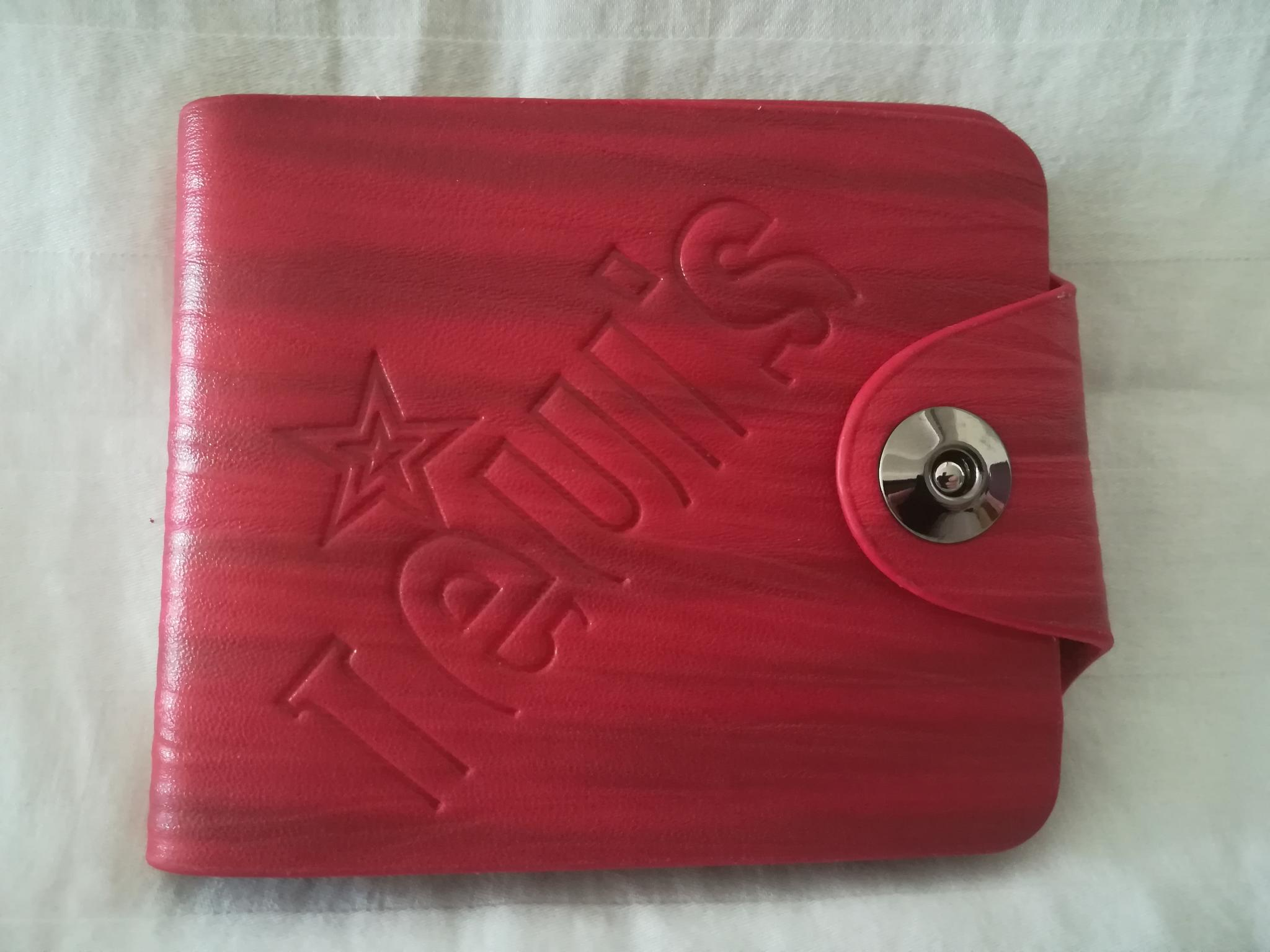 Red leather wallet, brand new