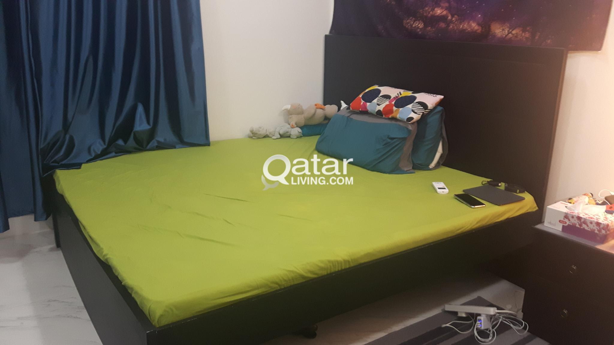 Queen size bed, mattress, drawers, dresser, cupboa