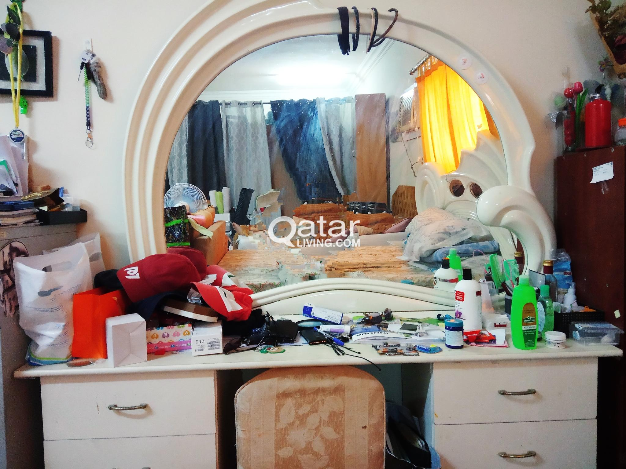 Large White Mirror with makeup table