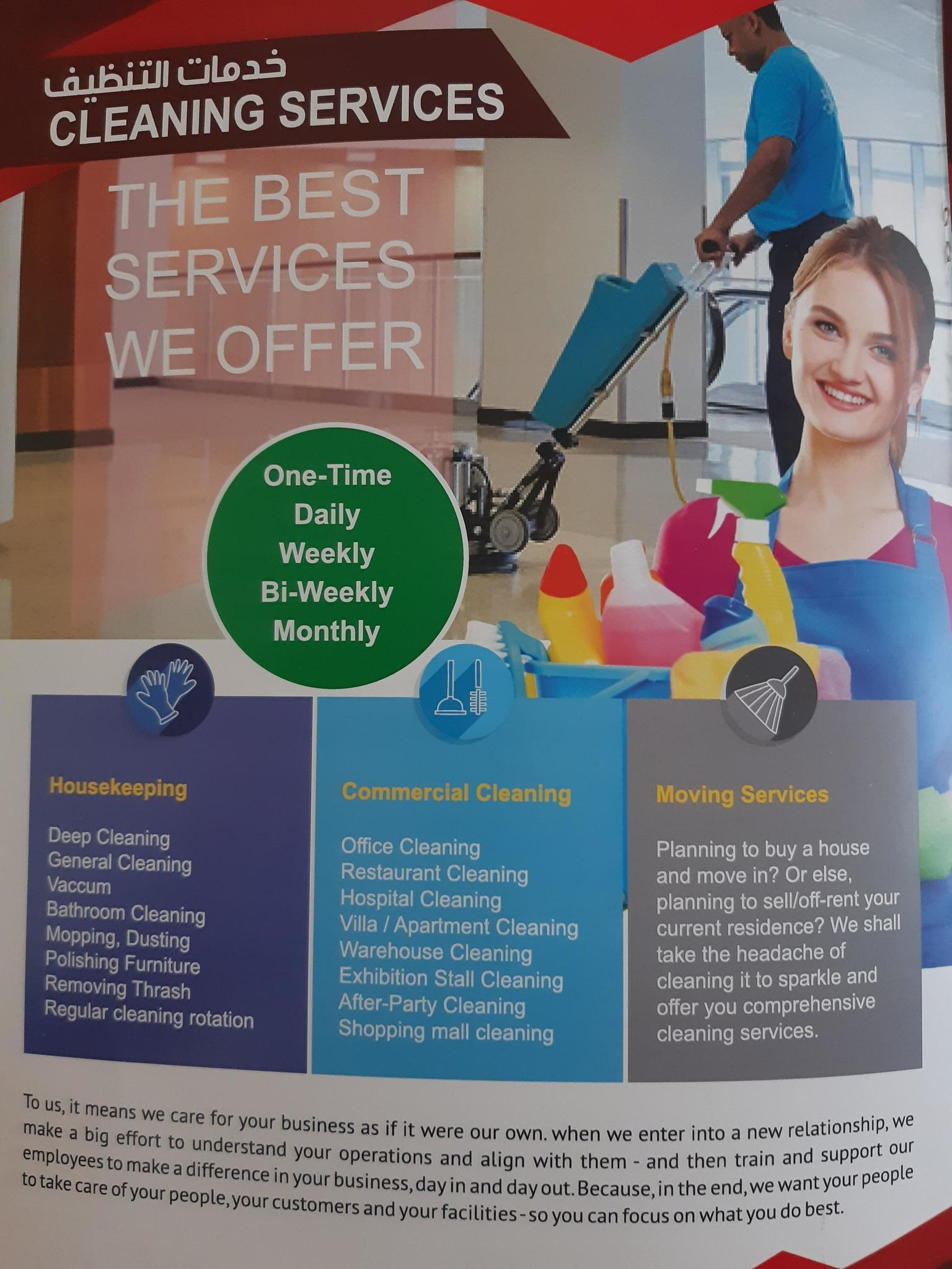 Cleaning services company Please call 77199590