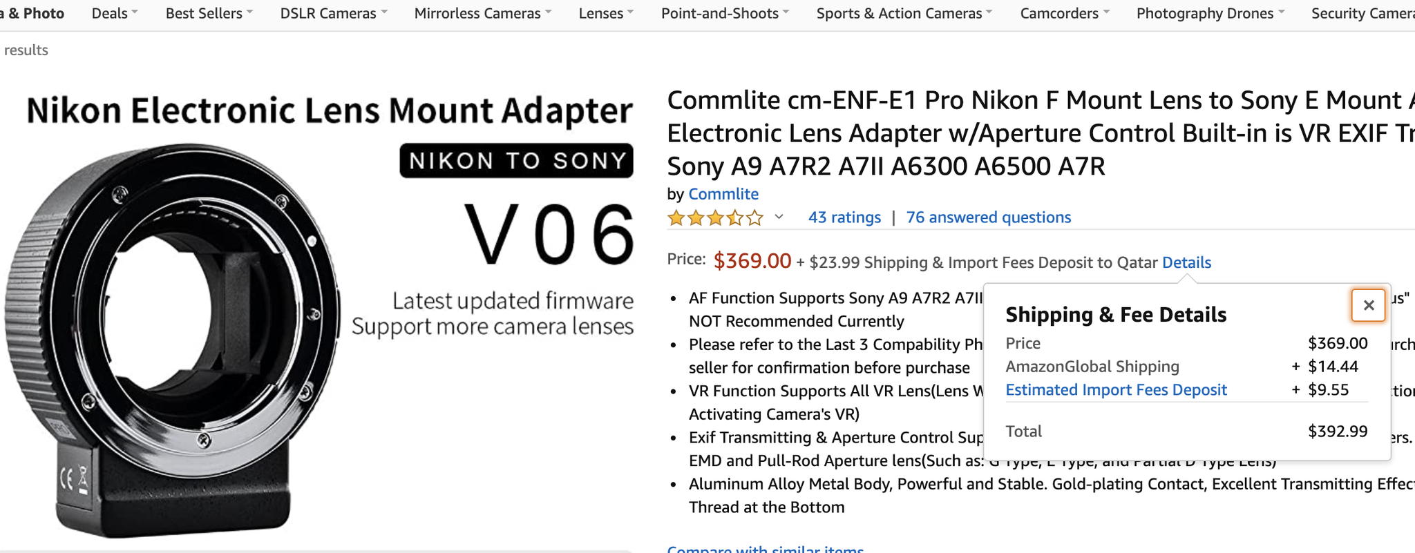 Nikon Lens to Sony E mount Camera (Auto focus Adap