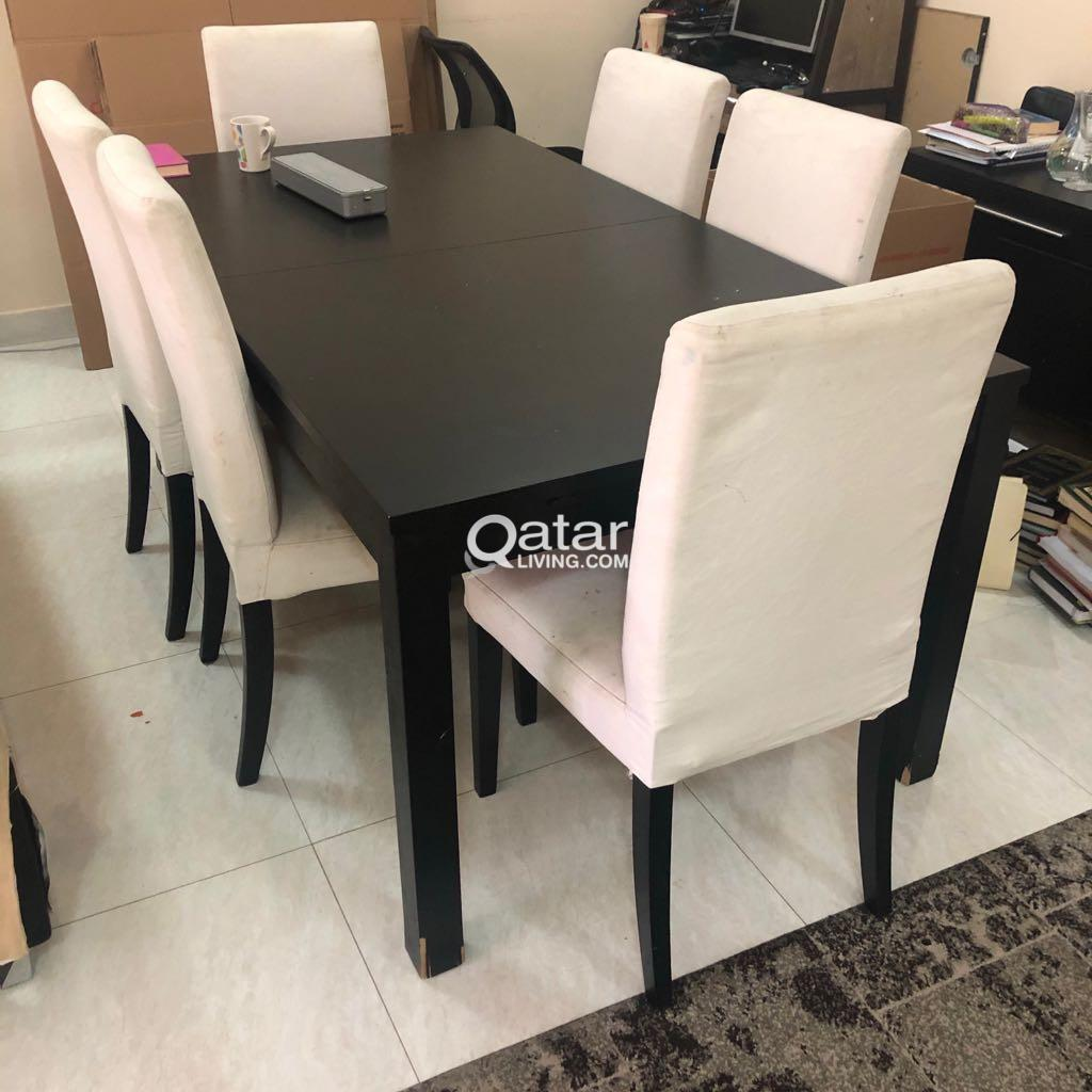 Ikea Dining Table With 6 Chairs And Drawer Qatar Living