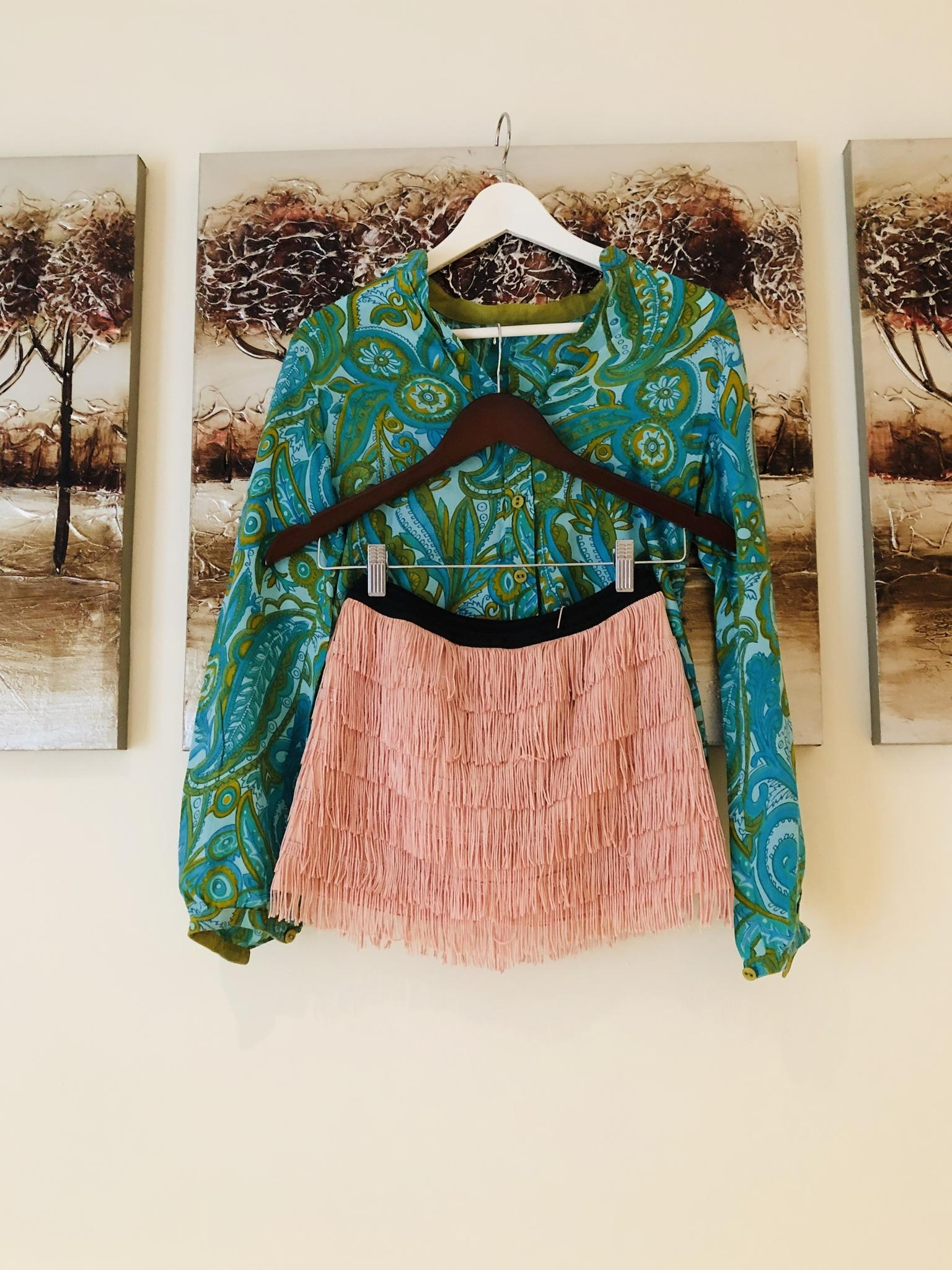 Women's Cardigan, Blouse and Skirt-Shirt , Size S