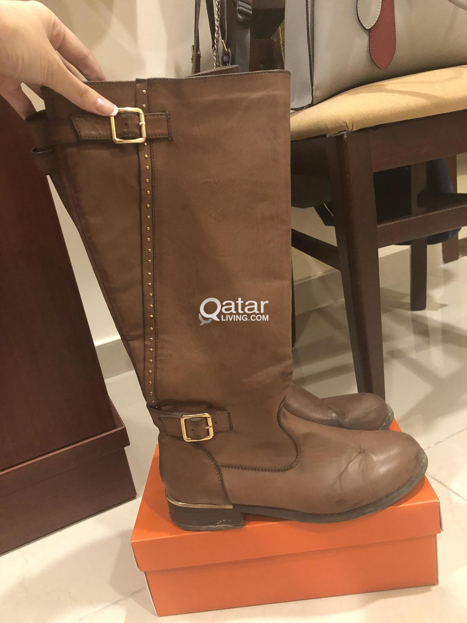 Winter long leather boots