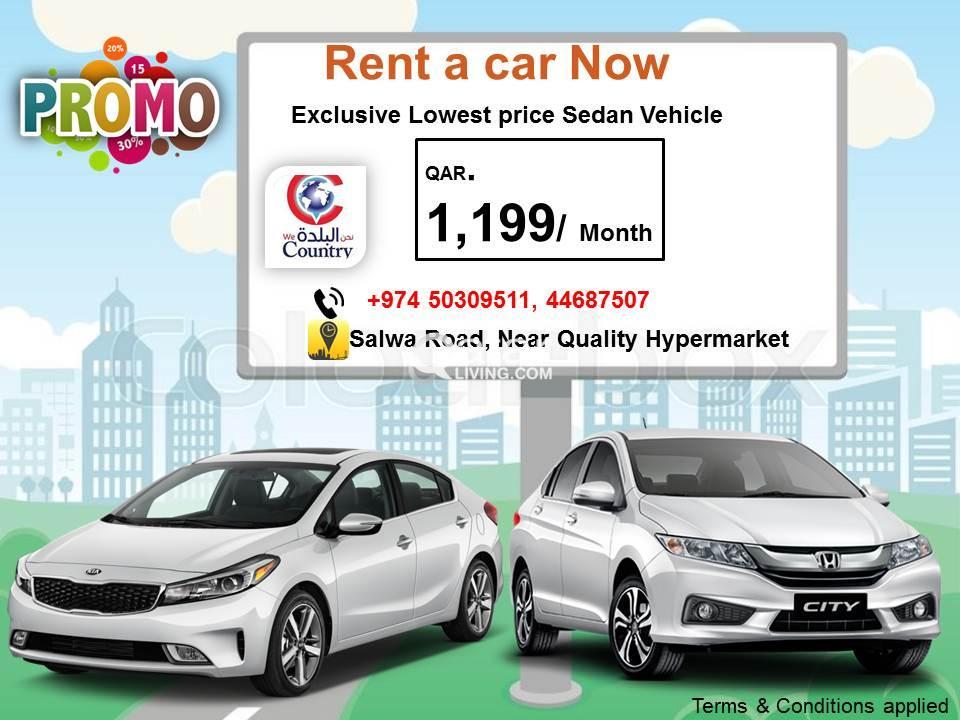 Promo Qr.1,199/ Month Sedan Vehicle  - Call us 503