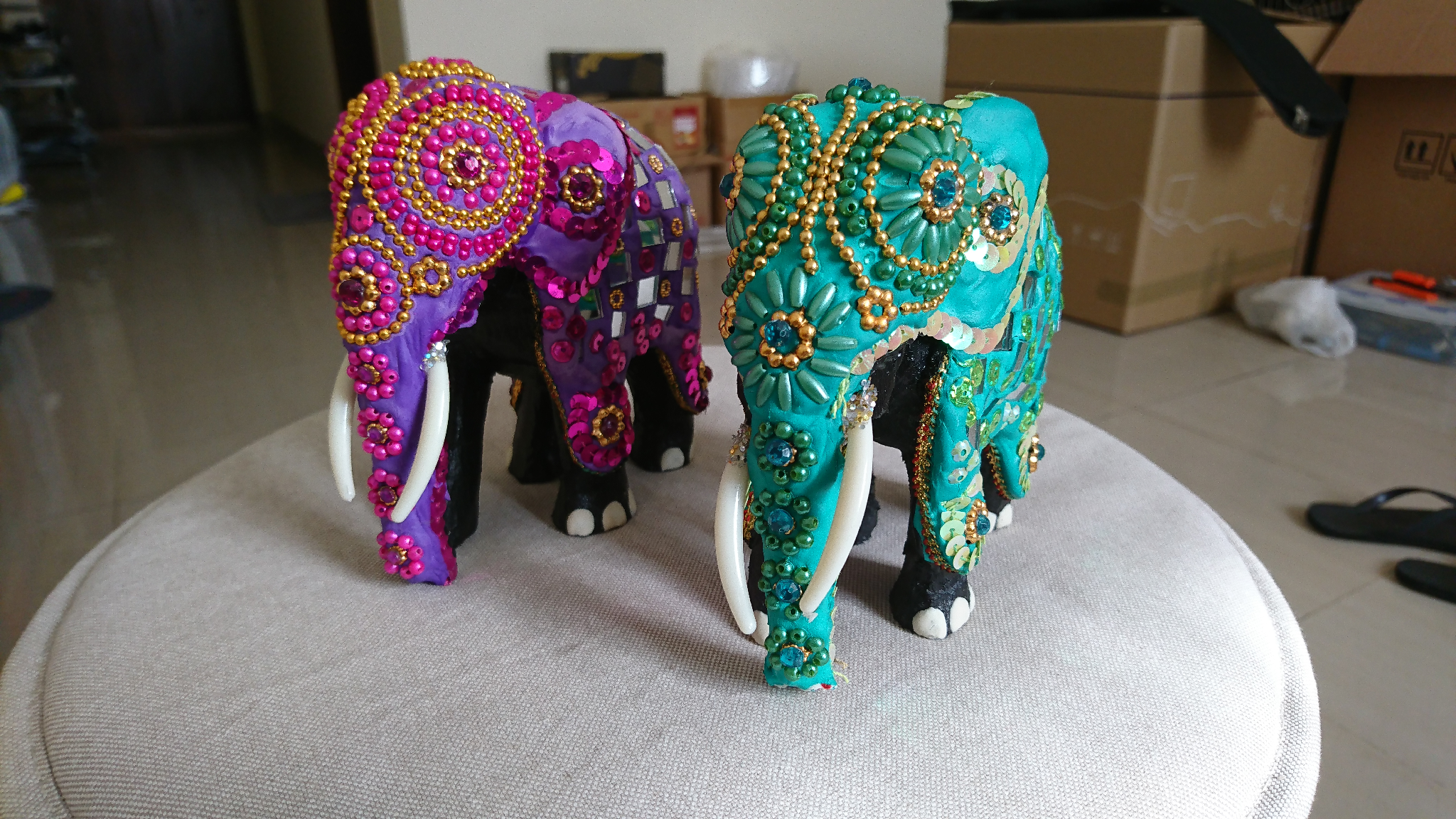 2 Decorated Elephant Ornaments with boxes