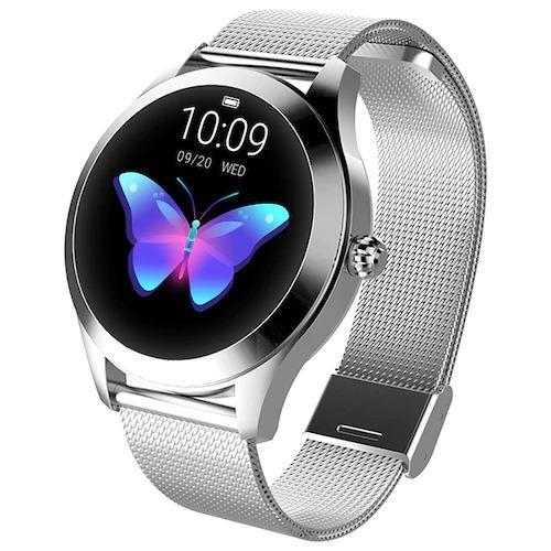 KW10 Ladies Smart Watch – Silver Steel Strap – Hea