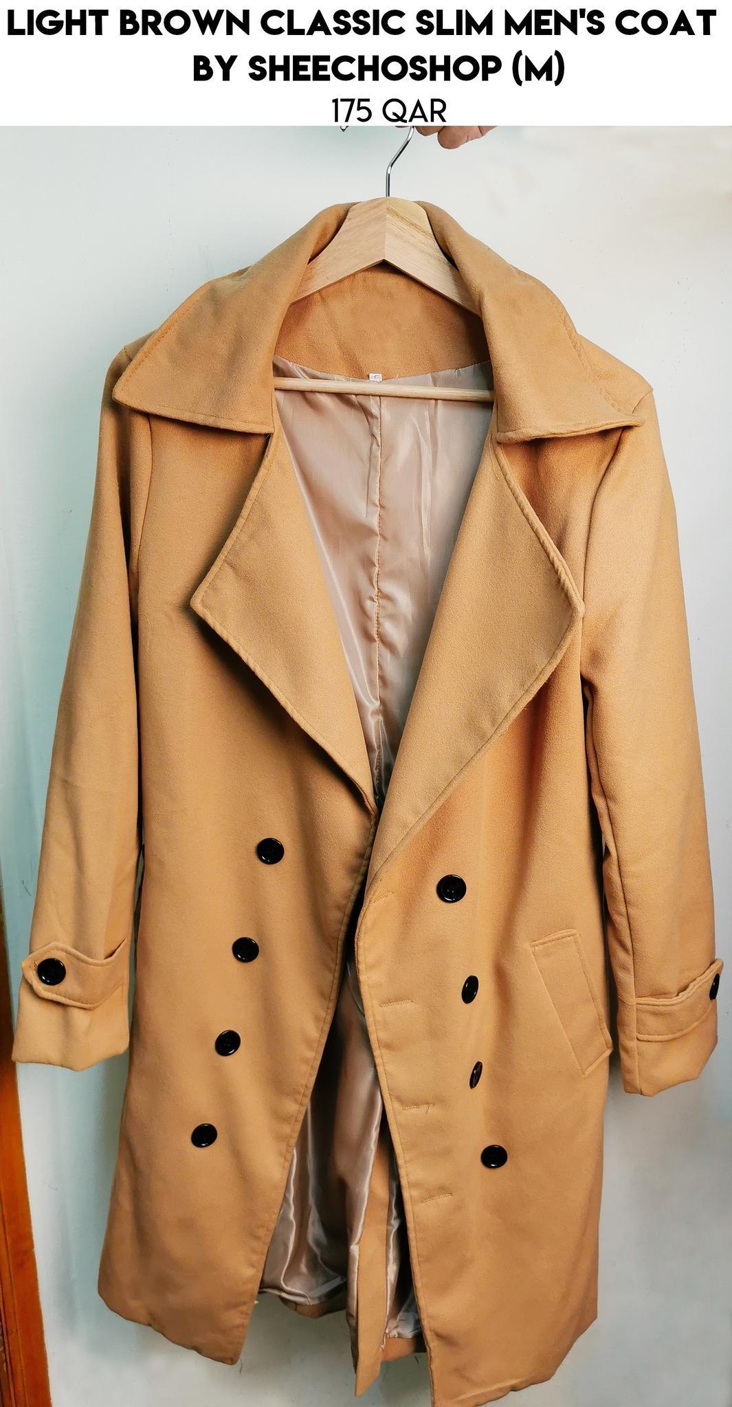Light Brown Classic Slim Men's Coat by Sheechoshop