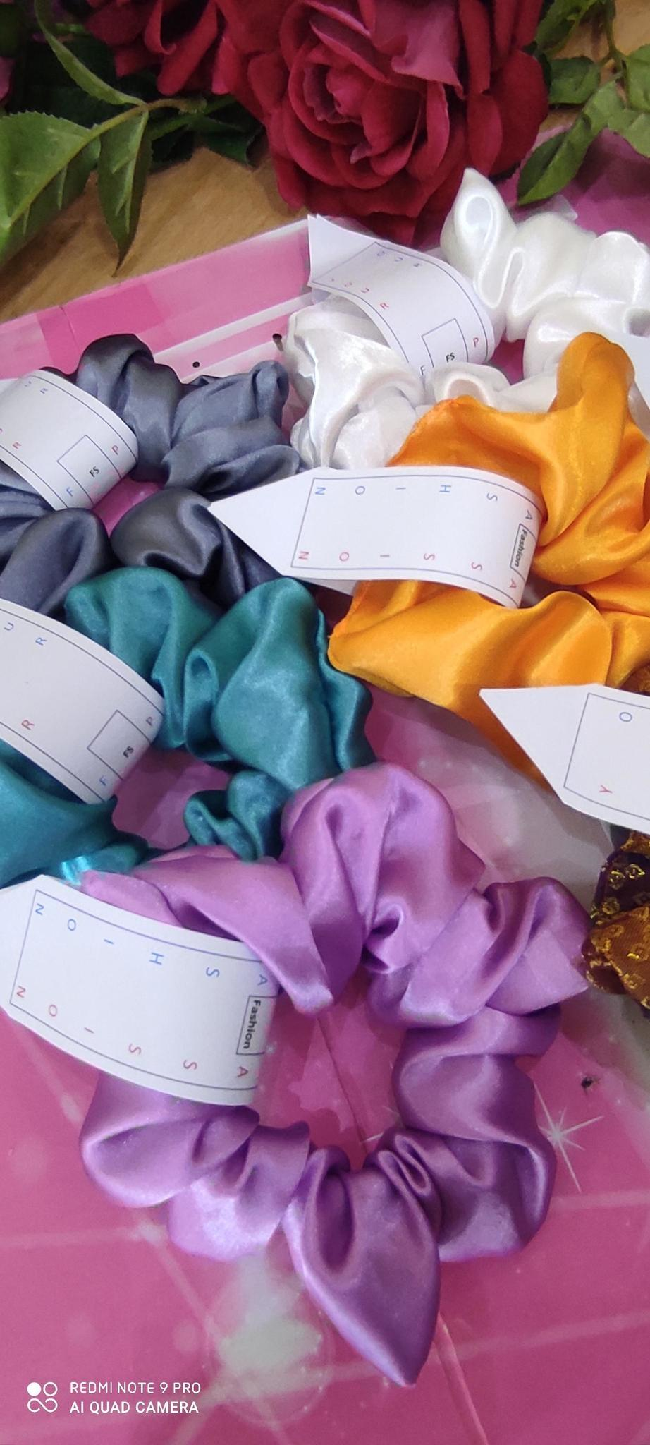 Satin silk scarf and scrunchies