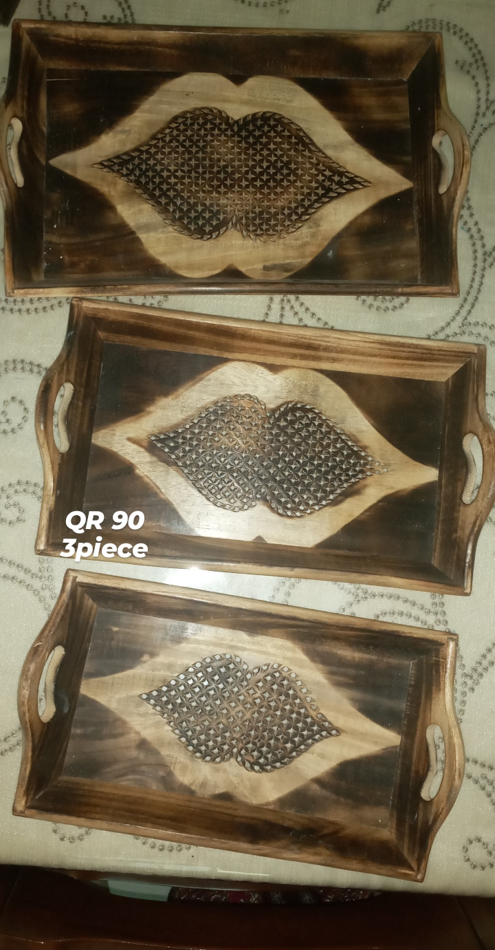 WOODEN candle stands, trays, wall hanging for sale