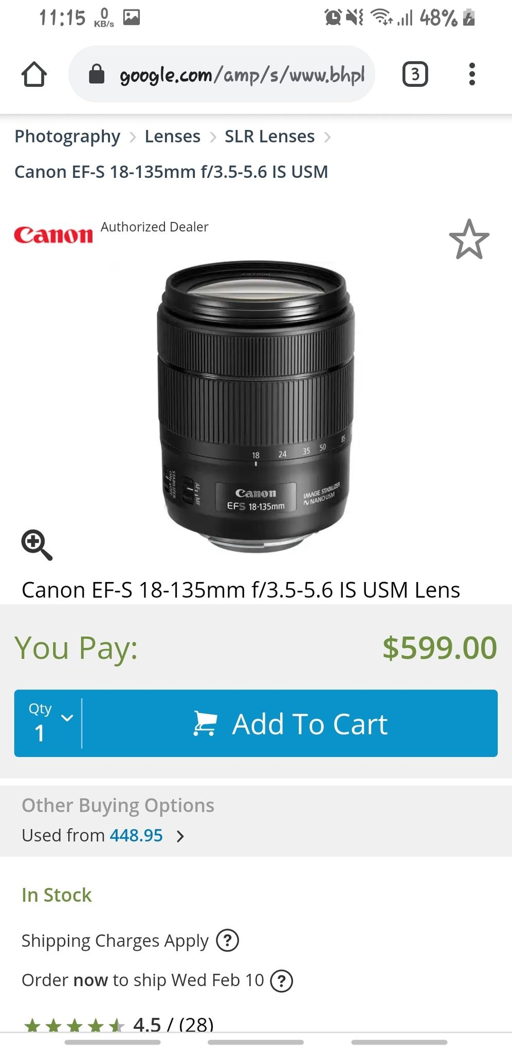 Canon EF-S 18-135mm New lens