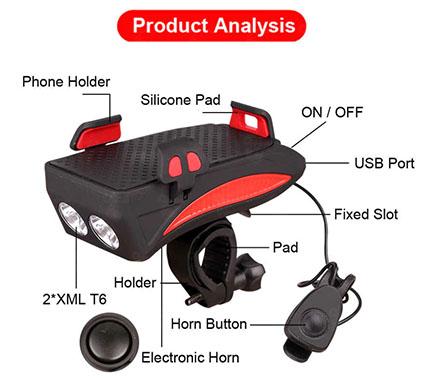 4-in-1 Horn LED Bike Headlight