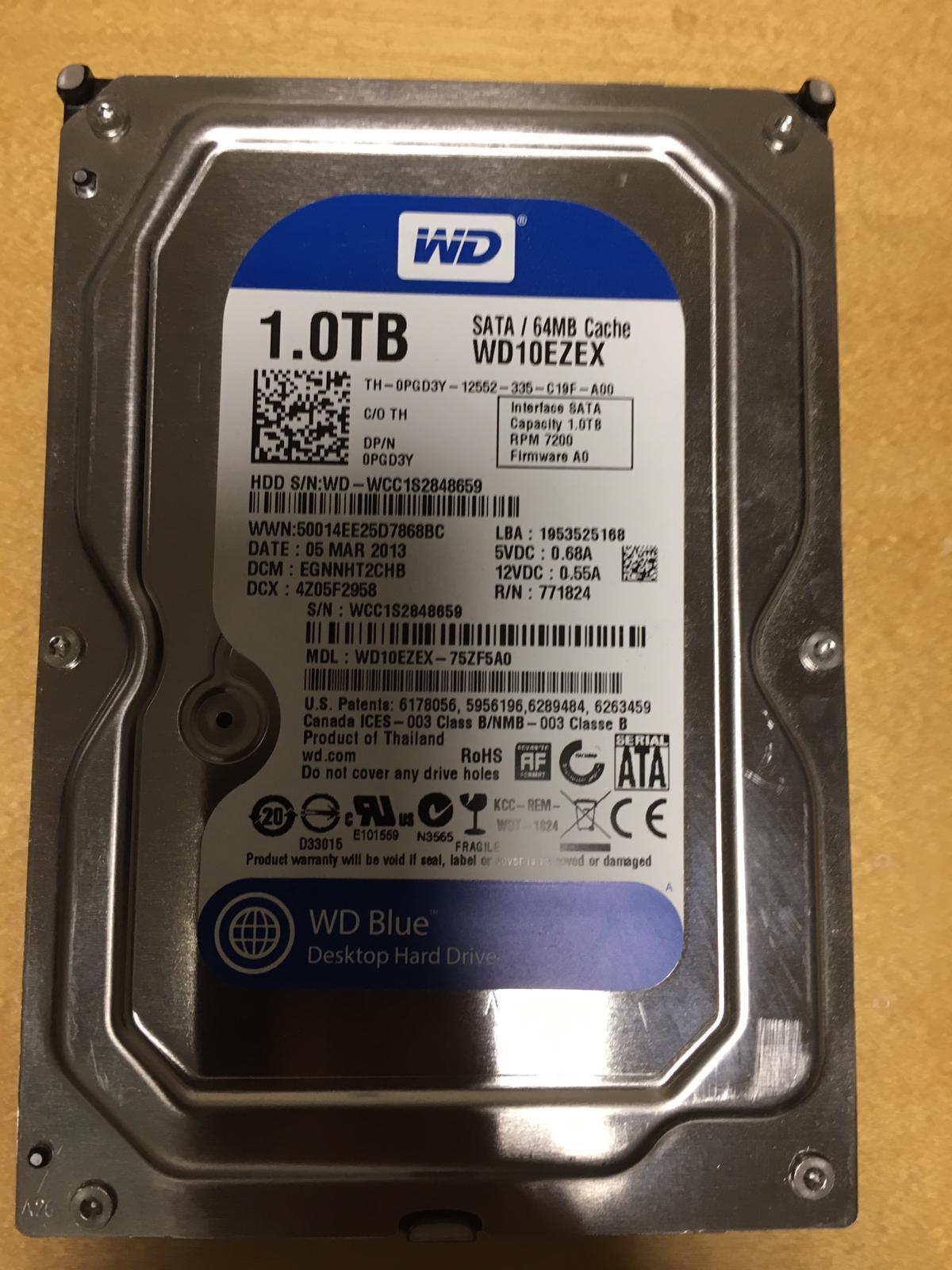WD & Toshiba 1TB Desktop Hard disk for sale