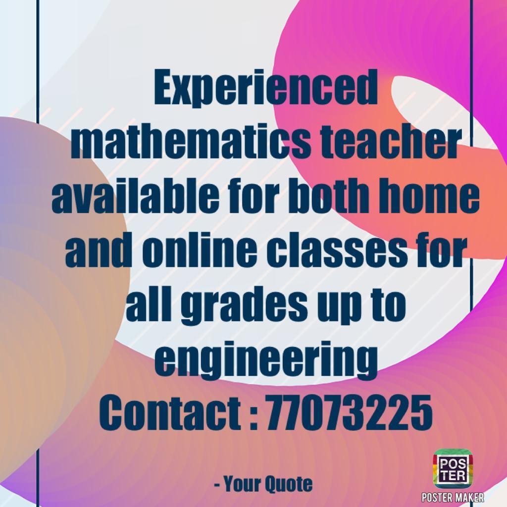 Maths TuitionTEACHER  available AT location @ 7707