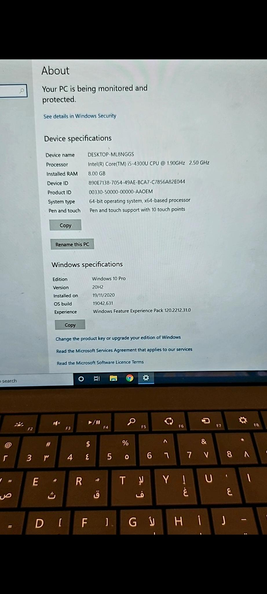 Surface Pro laptop i5 8GB Ram 256gb SSD with Surfa