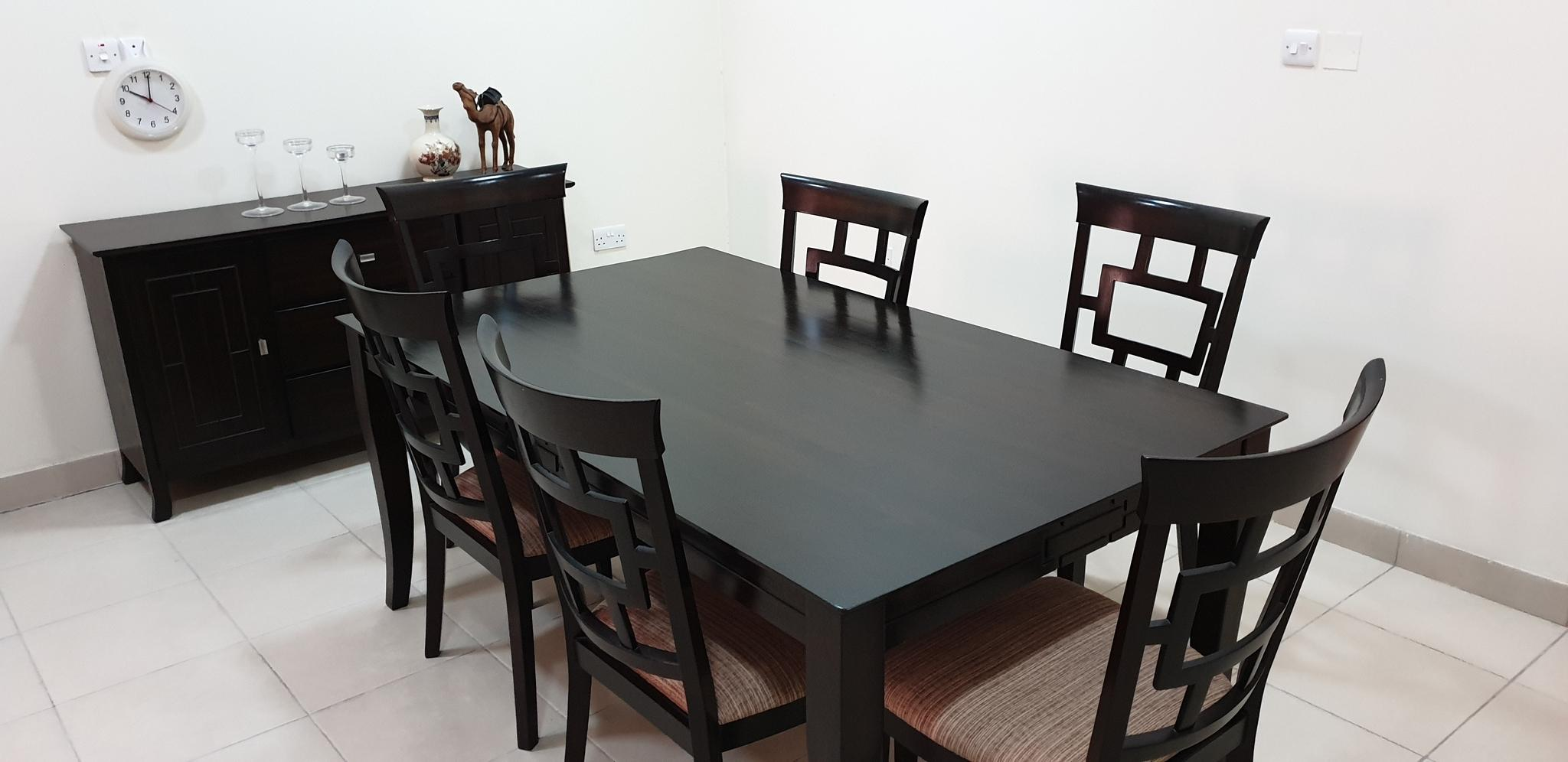 Dining Table with 6 chairs and buffet