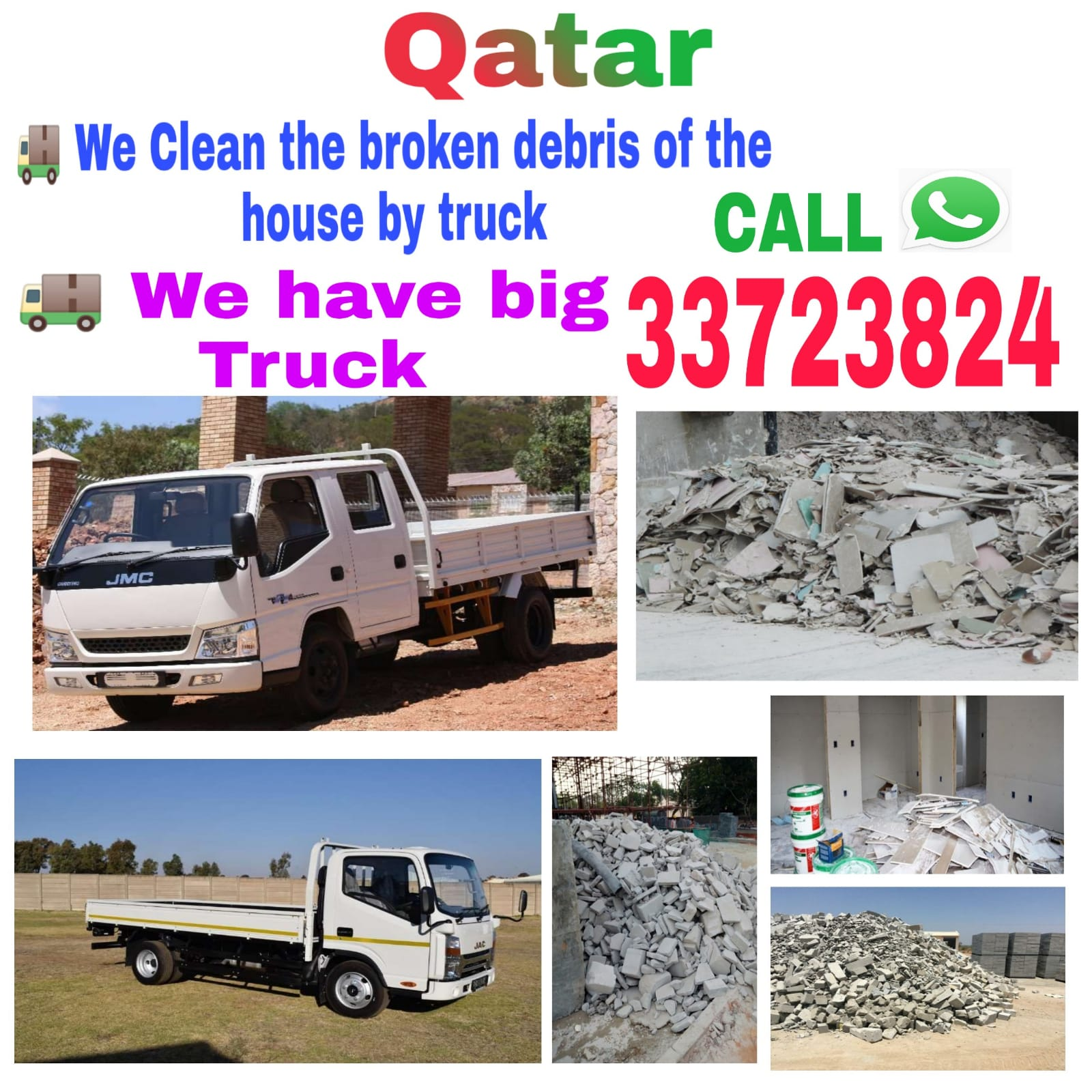 We clean the broken debris of the house by truck