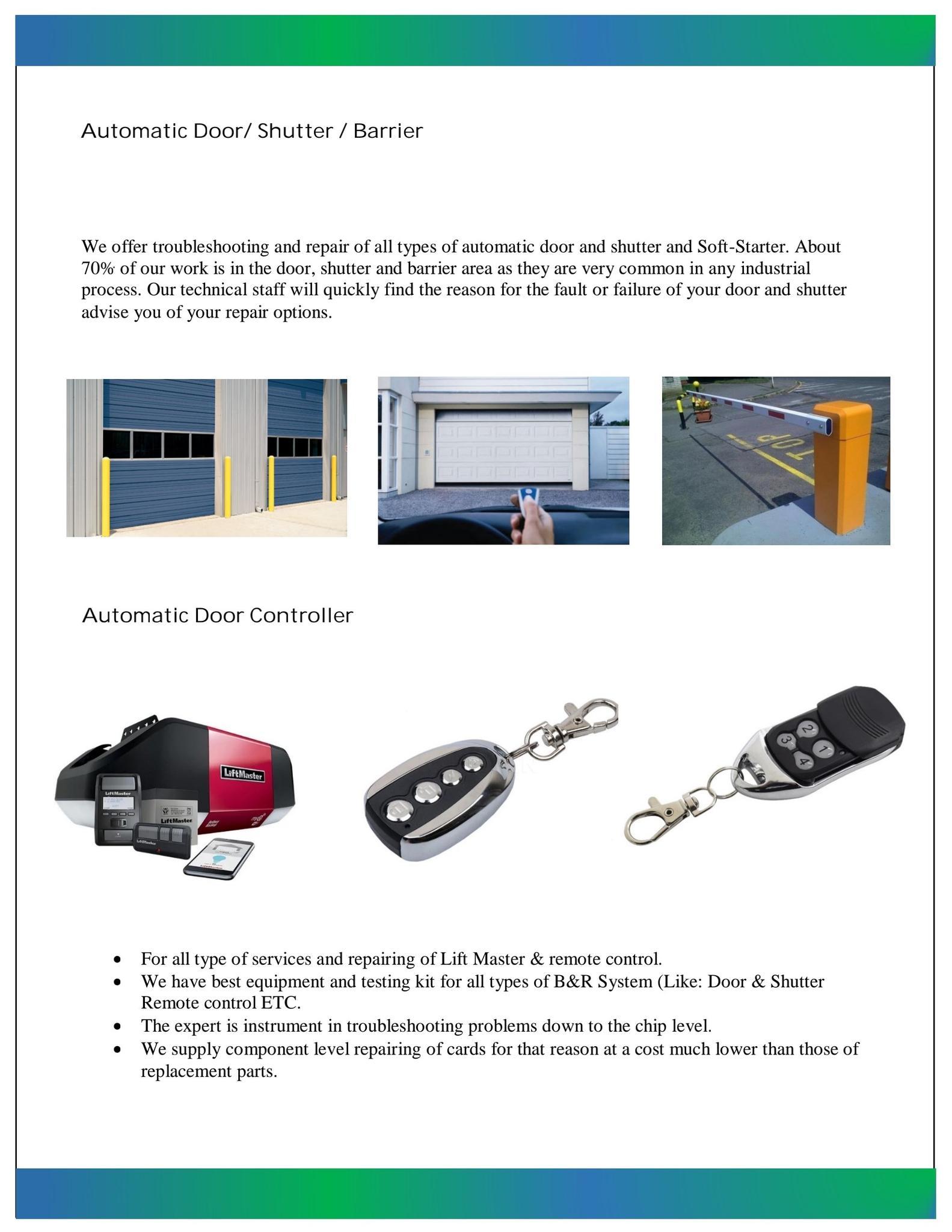 SERVICE- AUTOMATIC DOOR, GENERATOR SERVICE, SUBMER