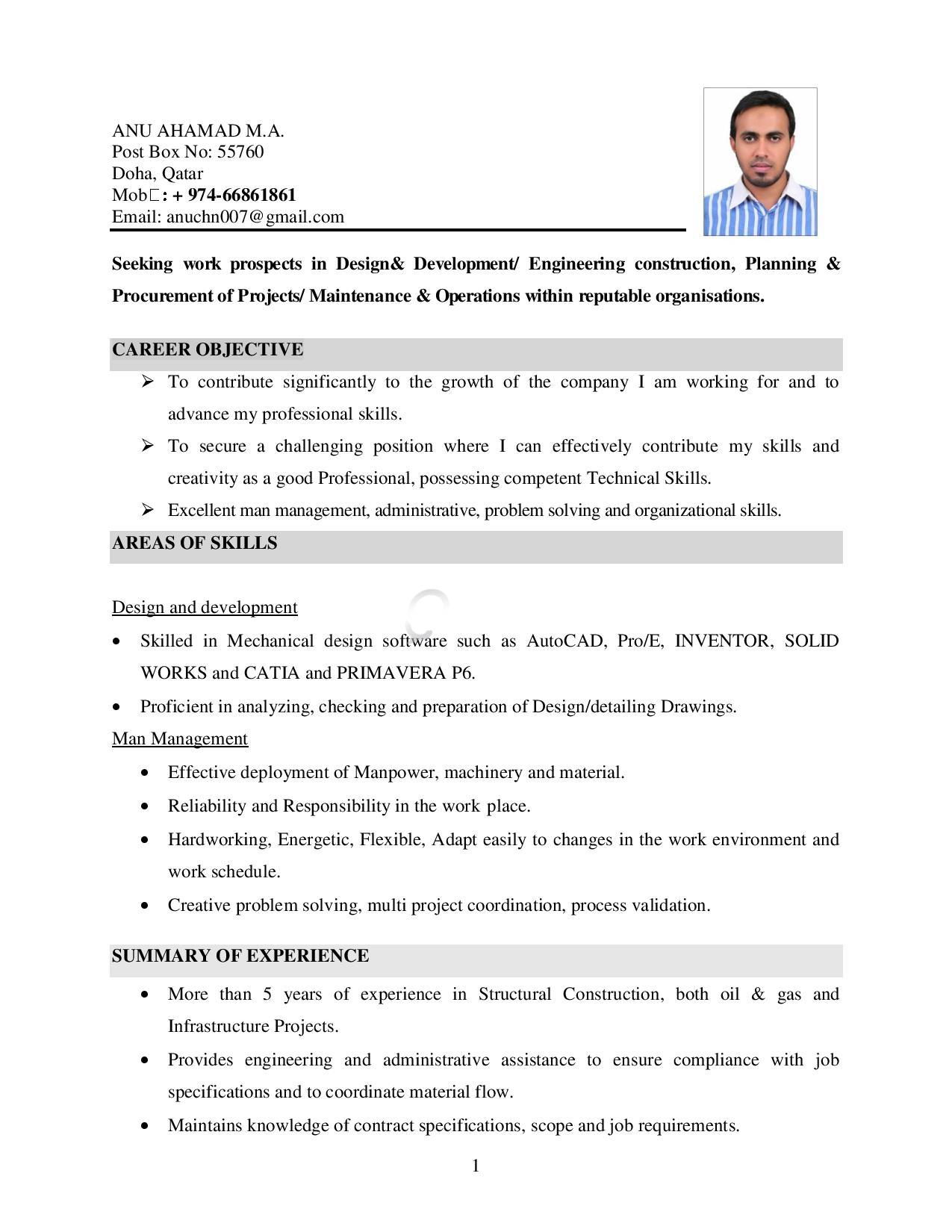 Mechanical Engineer 5 Years Experience Mba In Project Management Qatar Living