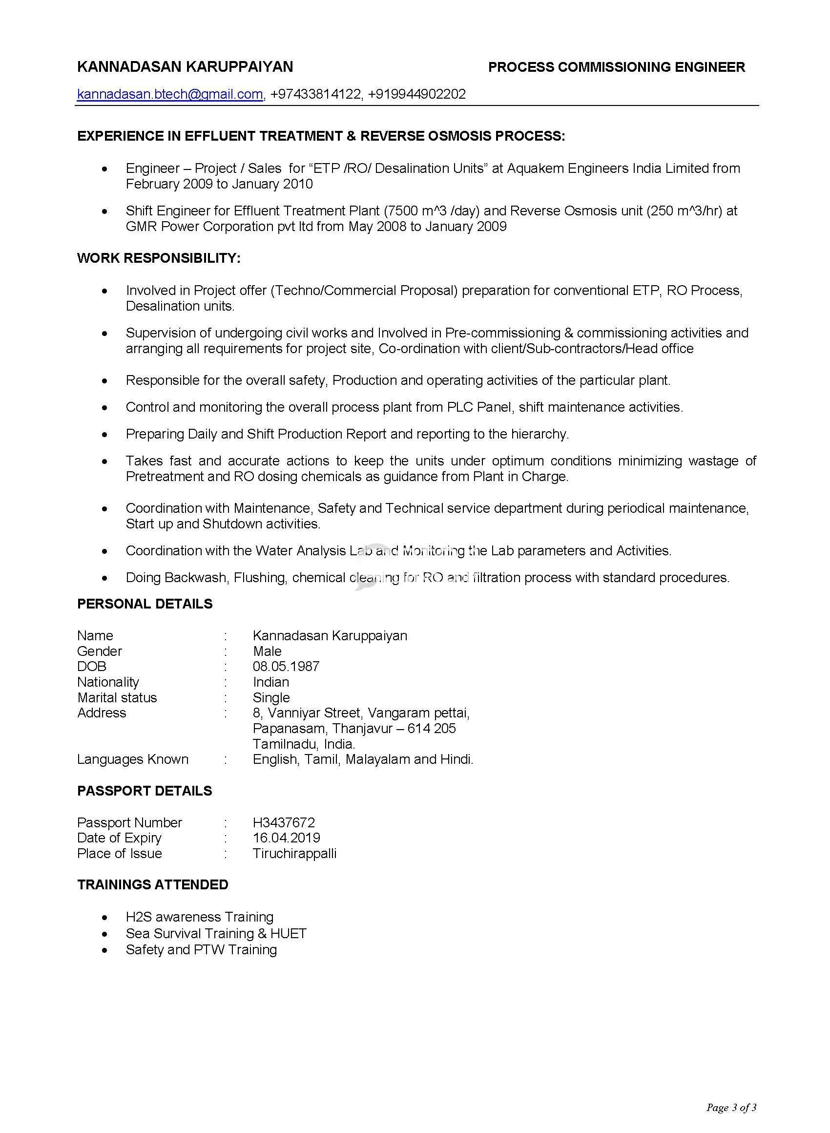 Process Missioning Engineer With 6 Years Experience In