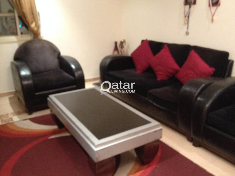 Black color sofa set with marble top tea table/ TV