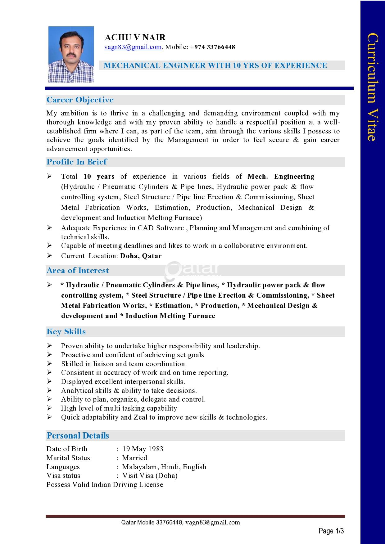 Mechanical Engineer With 10 Years Of Experience Looking For Job Qatar Living