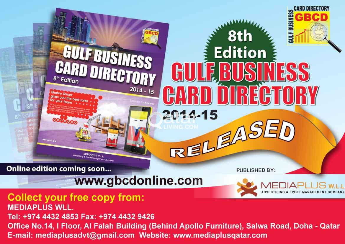 Gulf business card directory released qatar living title title title information 8th edition of gulf business card directory reheart Images
