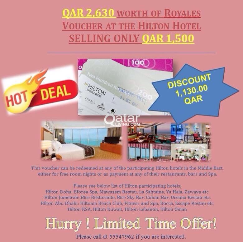 Hilton Hotel Vouchers for Sale!!! | Qatar Living