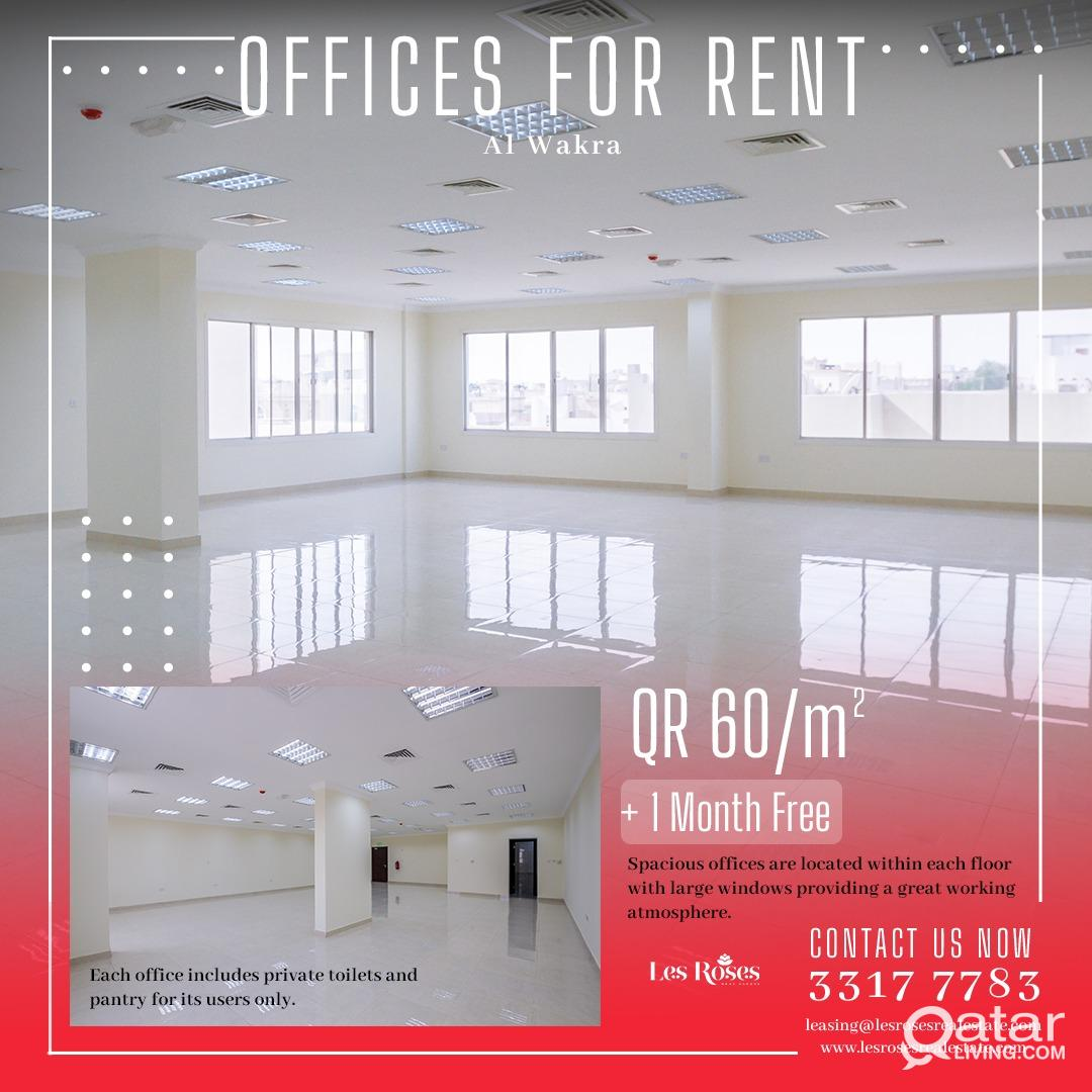OFFICE SPACE IN WAKRA 60 QAR / M2 Plus 1 month fre