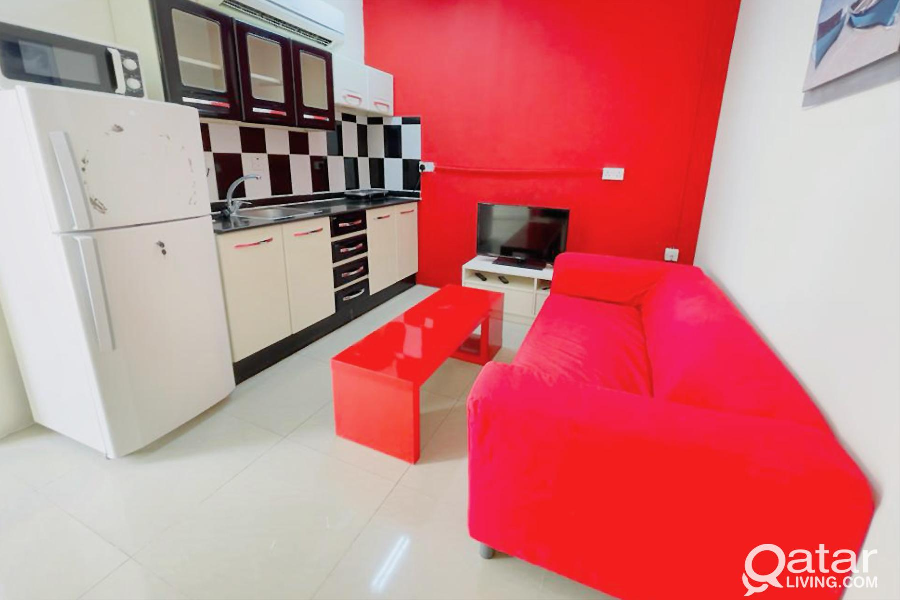 Furnished 1BHK behind Al Maha Academy (W/E/Wi-Fi i