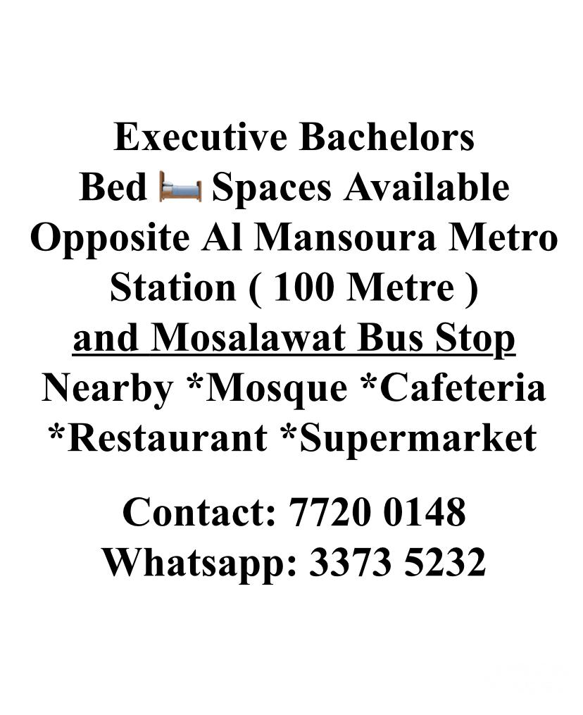 Executive Bachelors Bed Space Available Near Metro