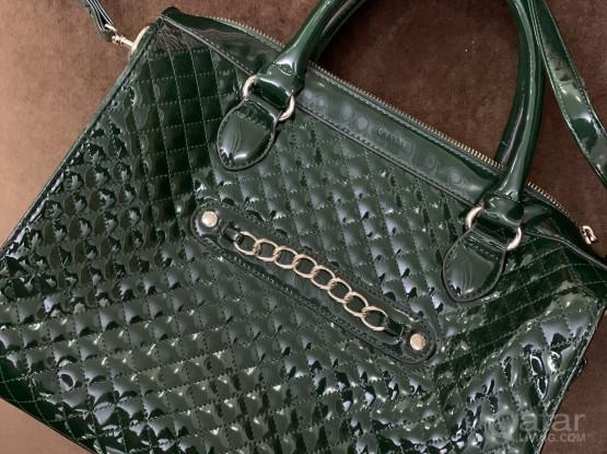 Mango bag almost new shiny dark green